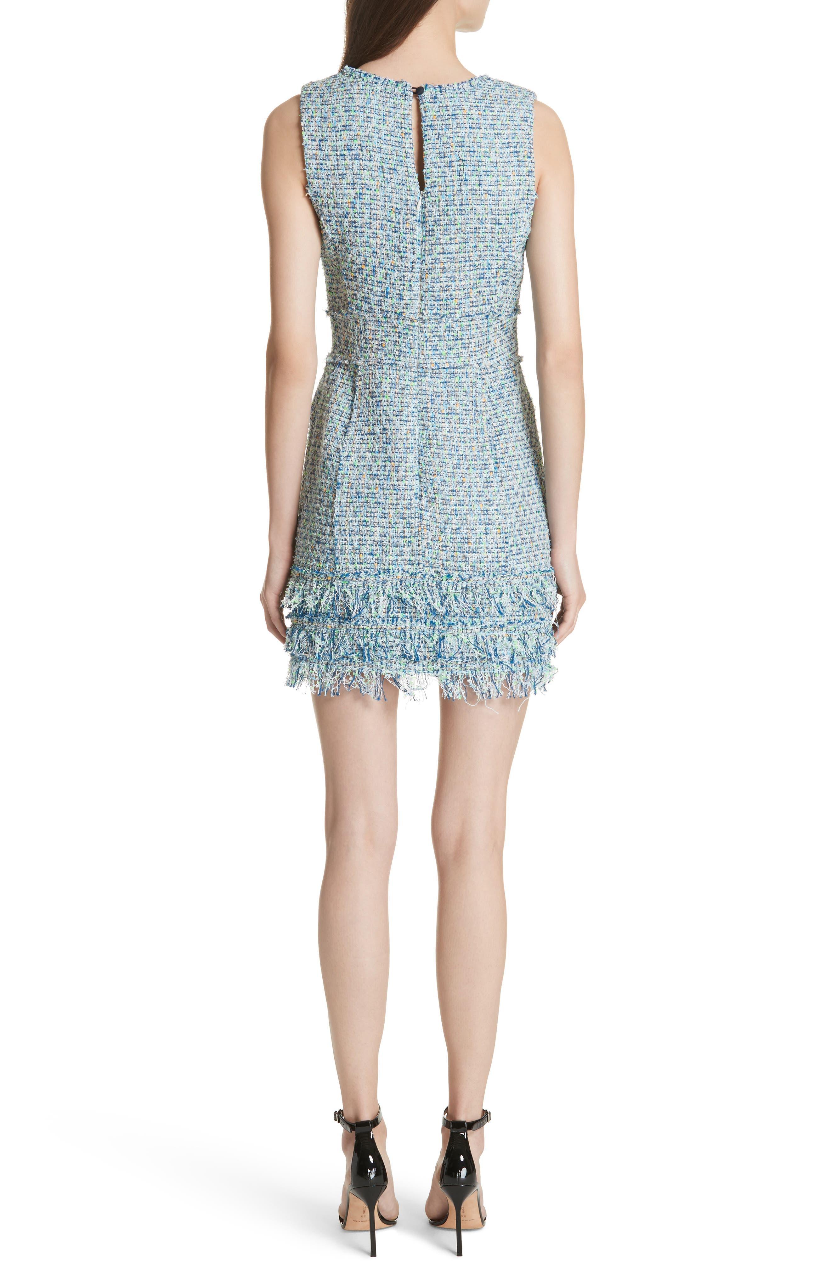 Tweed Sleeveless A-Line Dress,                             Alternate thumbnail 2, color,                             Blue