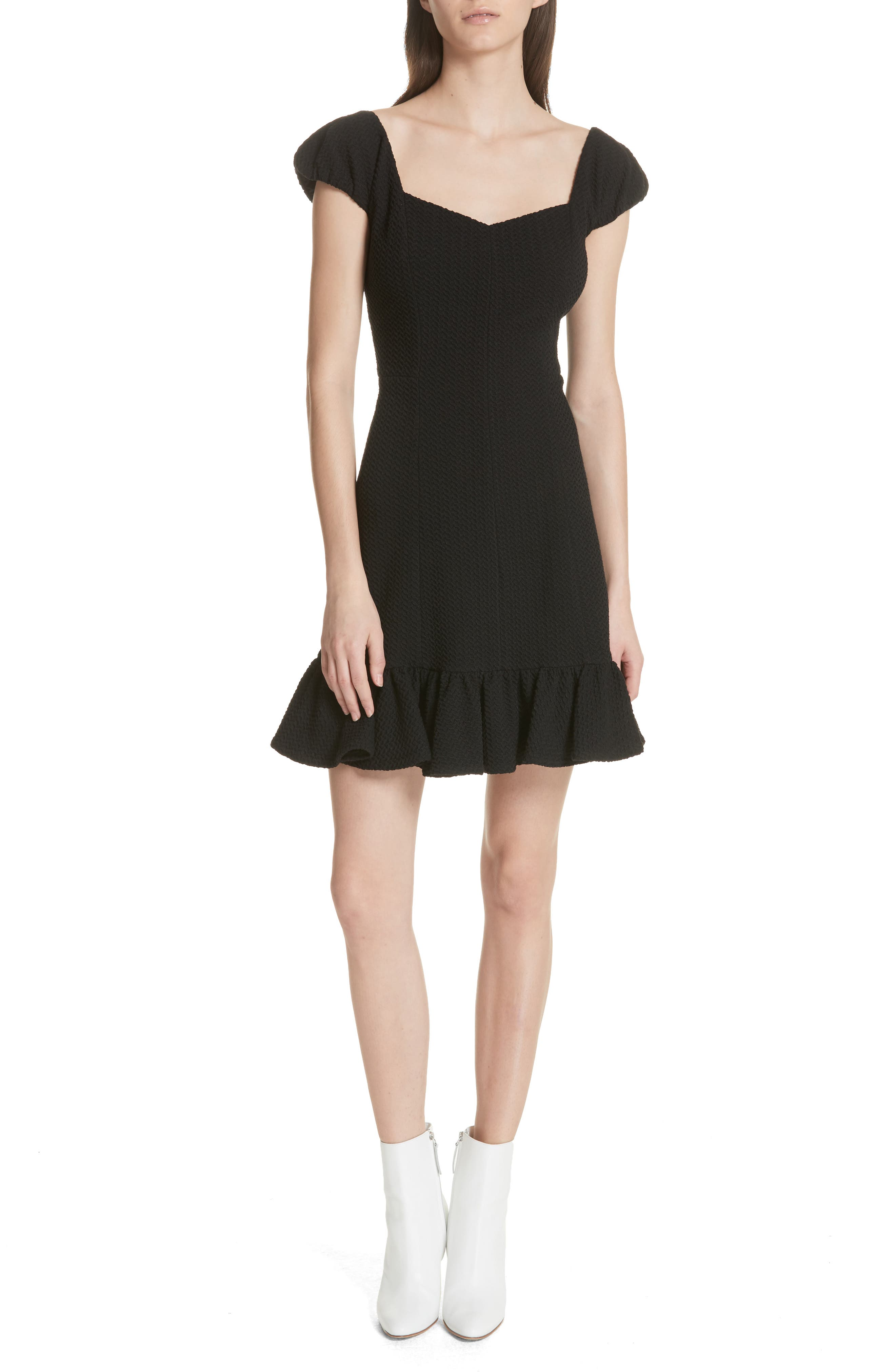 Cap Sleeve Ruffle Hem Dress,                             Main thumbnail 1, color,                             Black