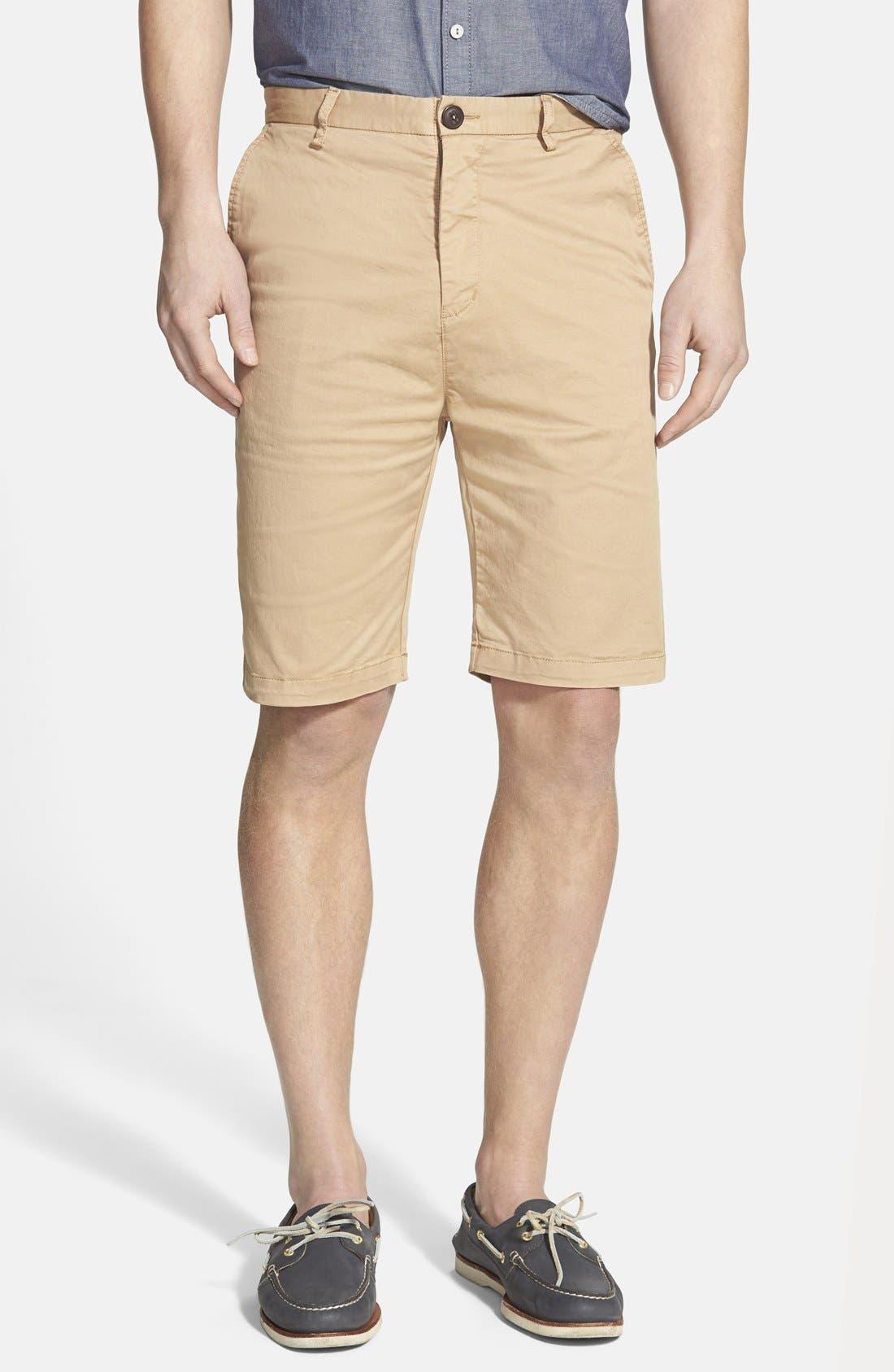 'Penrose' Flat Front Shorts,                             Main thumbnail 1, color,                             Camel