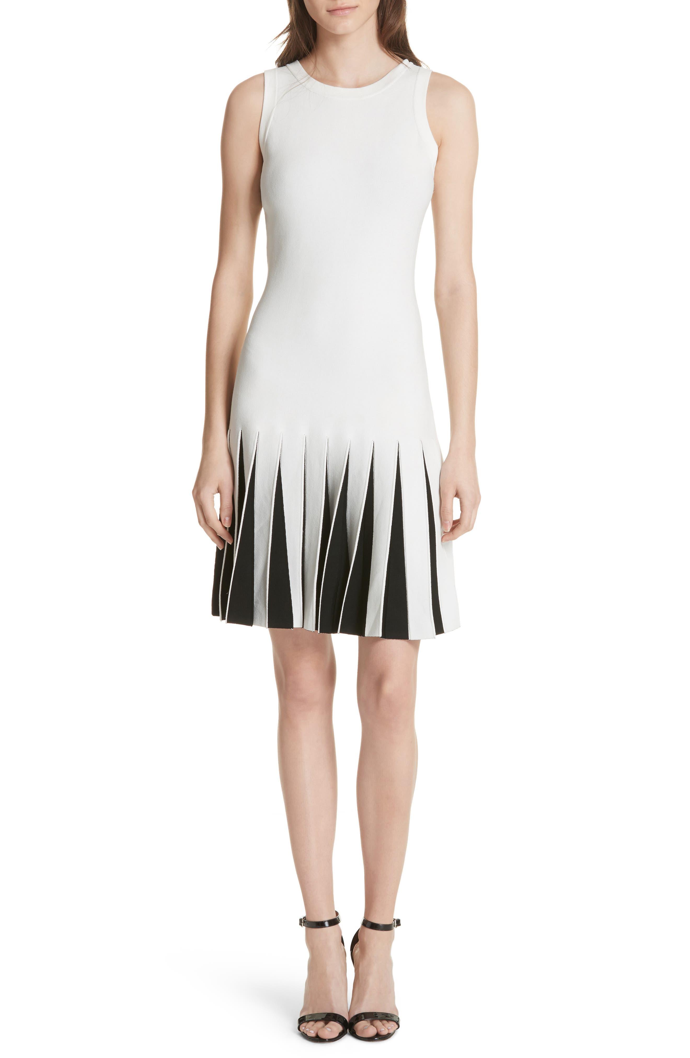 Pleated Contrast Drop Waist Dress,                         Main,                         color, White/ Black