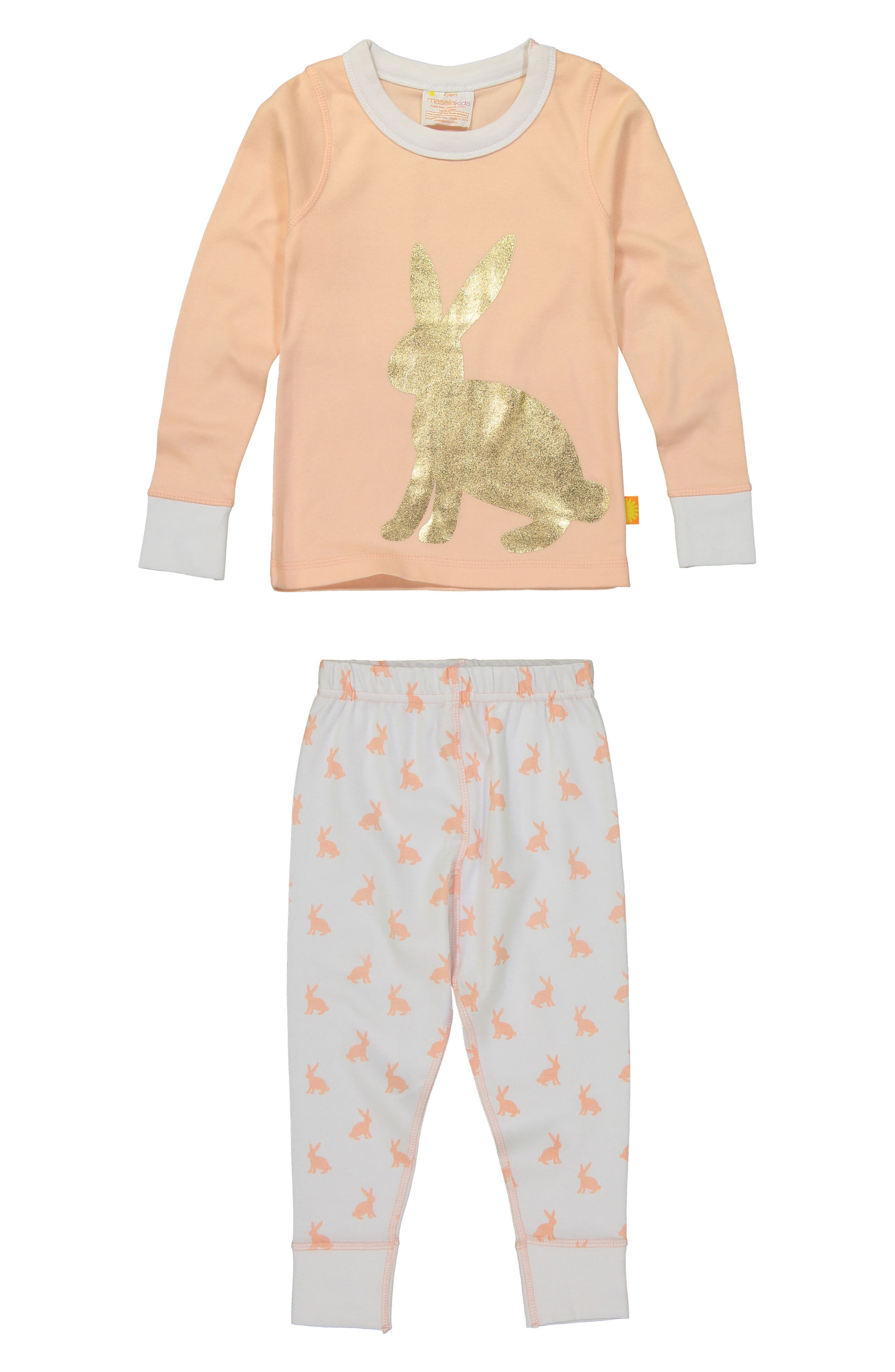 Bunny Hop Fitted Two-Piece Pajamas,                             Main thumbnail 1, color,                             Peach