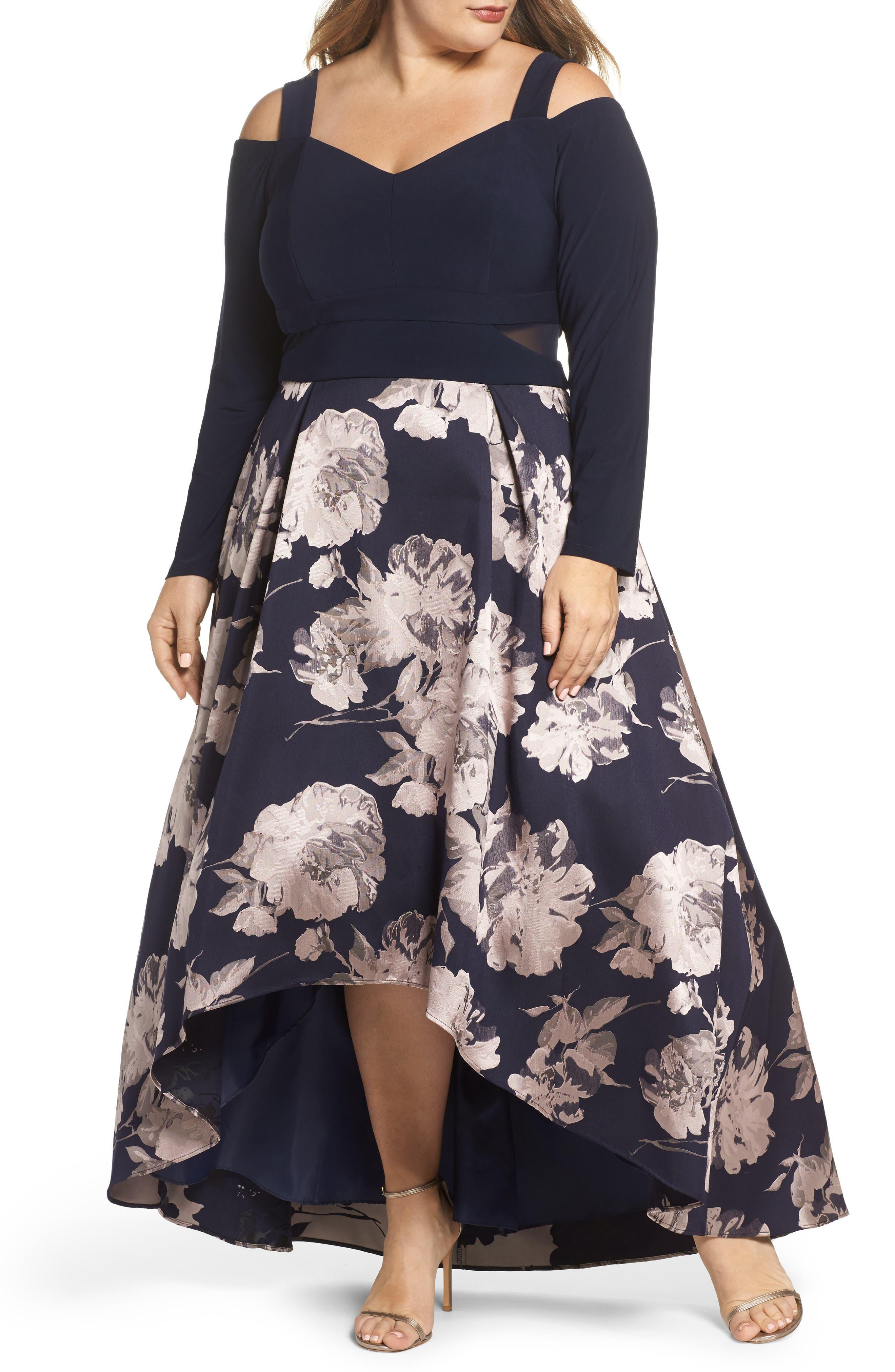 Alternate Image 1 Selected - Xscape Cold Shoulder Brocade High/Low Dress (Plus Size)