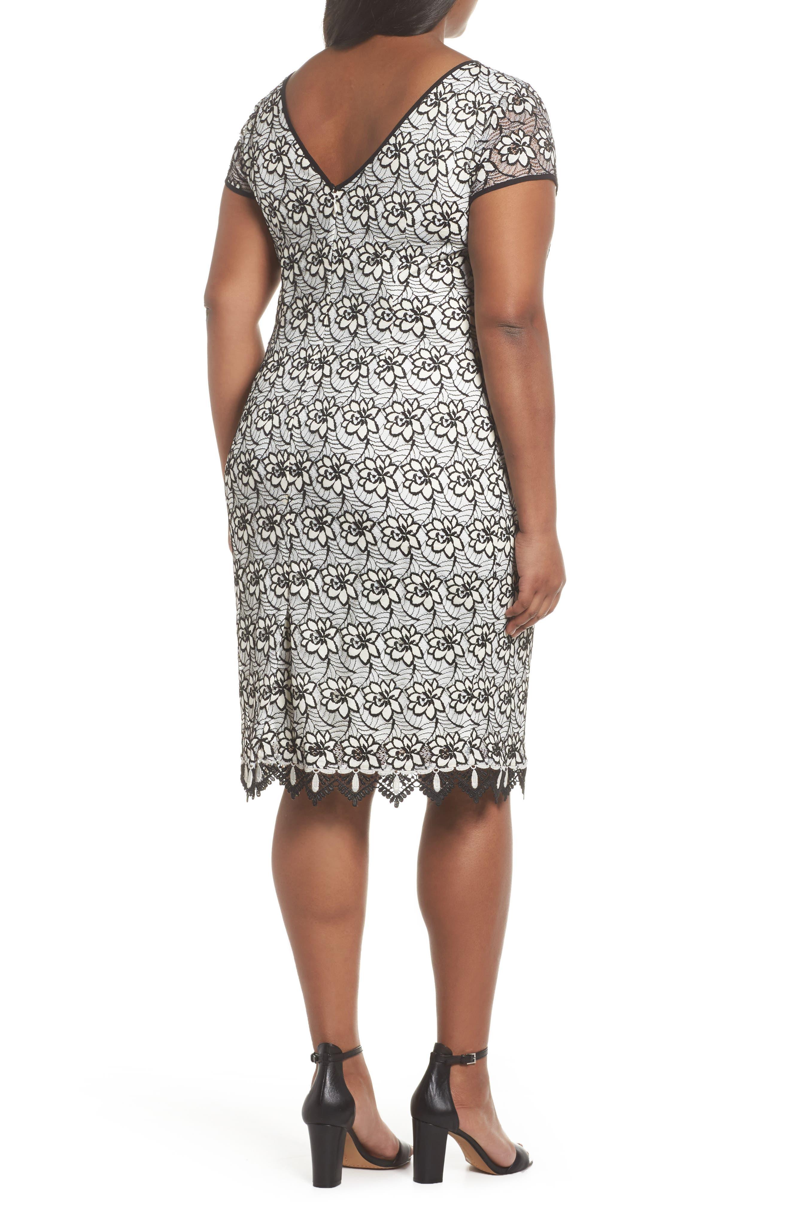Lace Trim Sheath Dress,                             Alternate thumbnail 2, color,                             Ivory/ Black