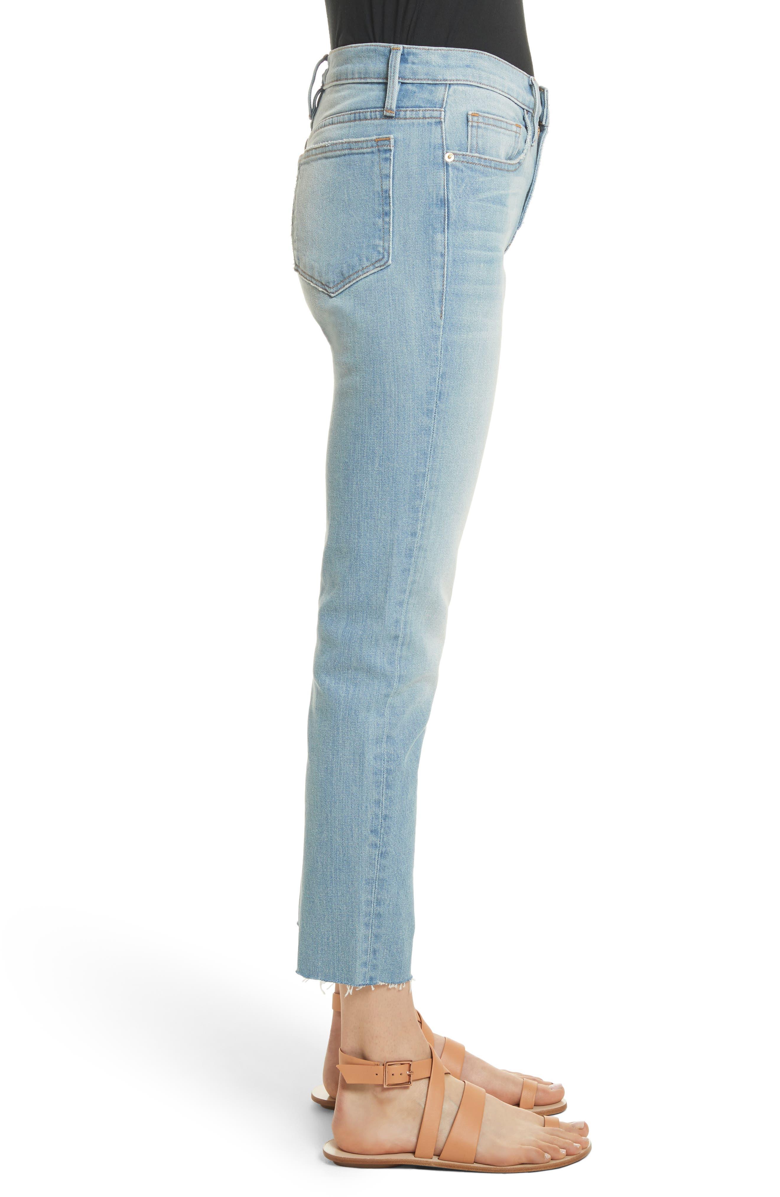 Le Boy High Waist Raw Hem Jeans,                             Alternate thumbnail 3, color,                             Pamder End