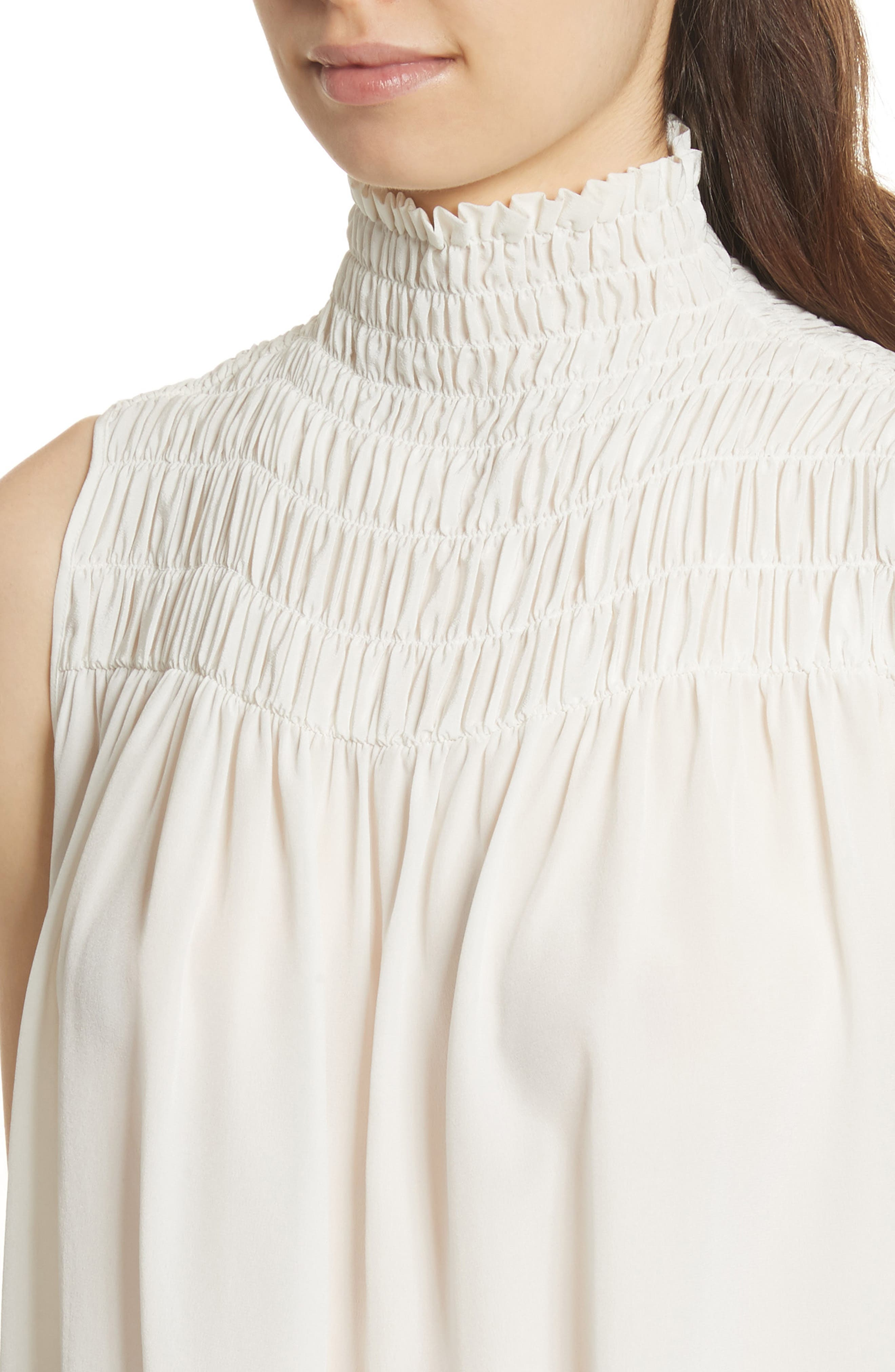 Smocked Sleeveless Silk Blouse,                             Alternate thumbnail 4, color,                             Off White