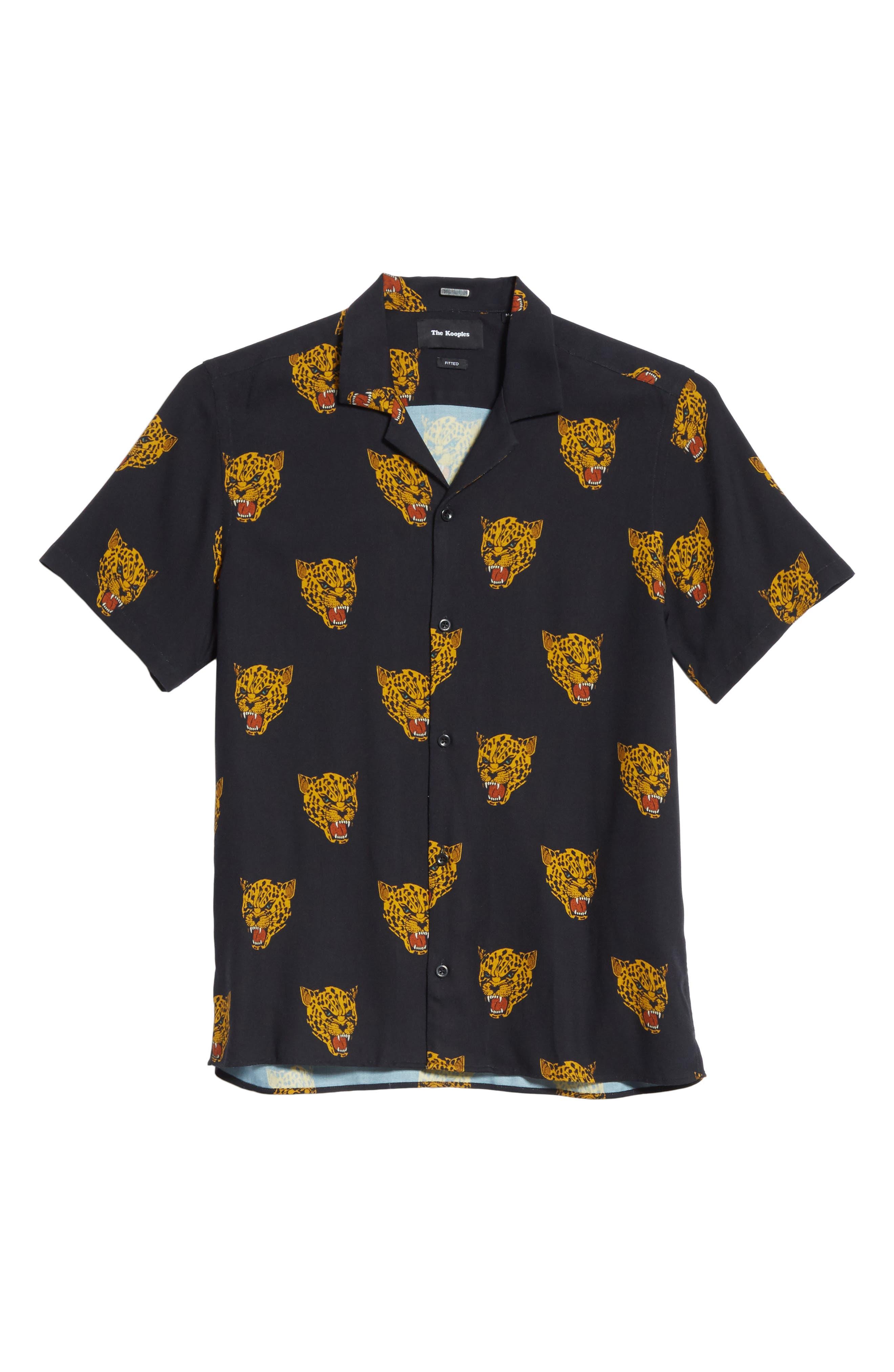 Tiger Print Camp Shirt,                             Alternate thumbnail 6, color,                             Black