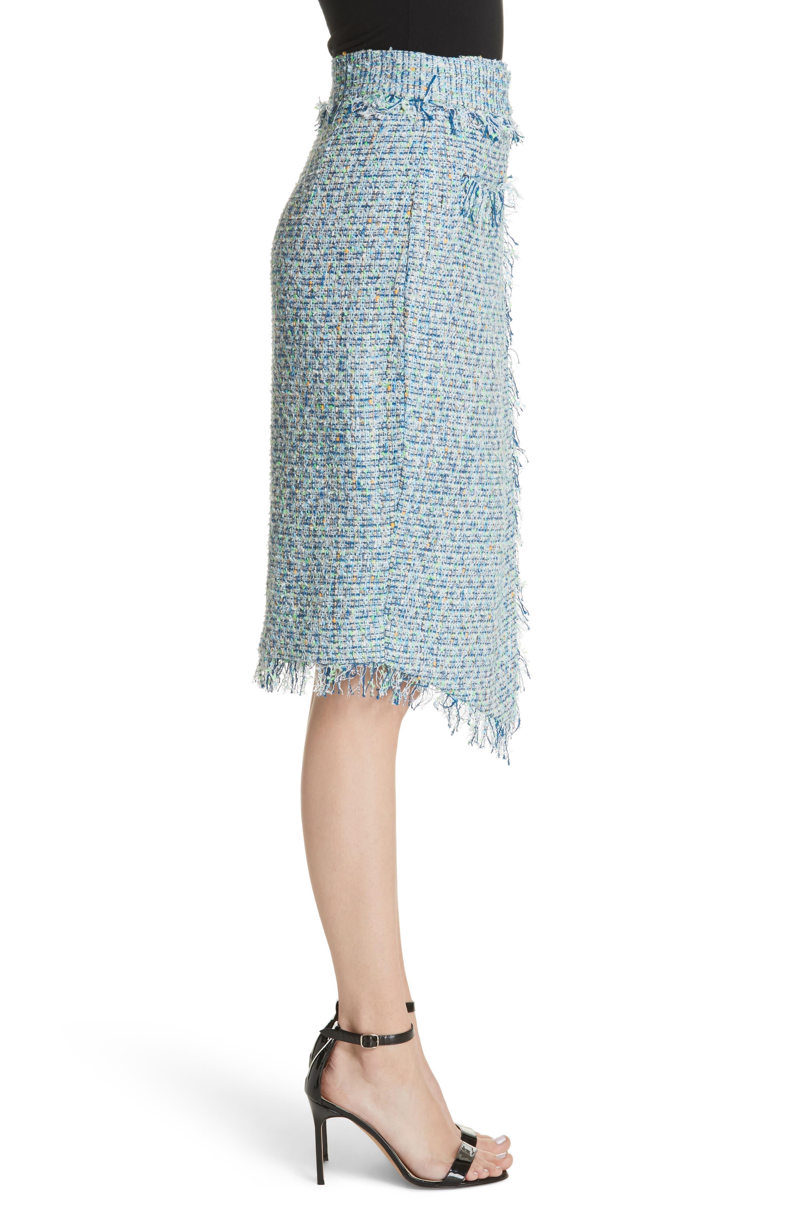 Tweed Wrap Skirt,                             Alternate thumbnail 3, color,                             Blue