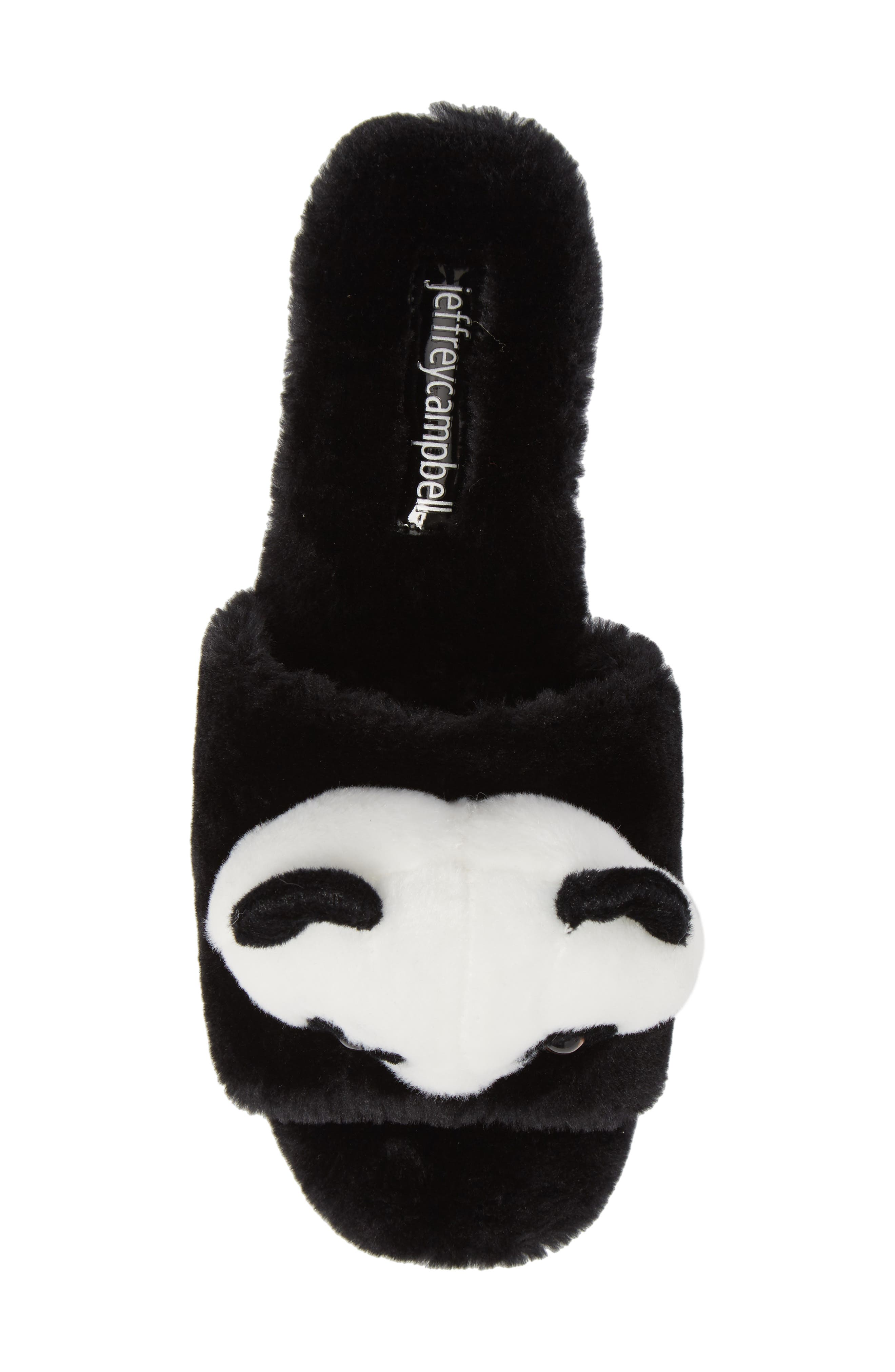 Plush Animal Slipper,                             Alternate thumbnail 5, color,                             Black Faux Fur