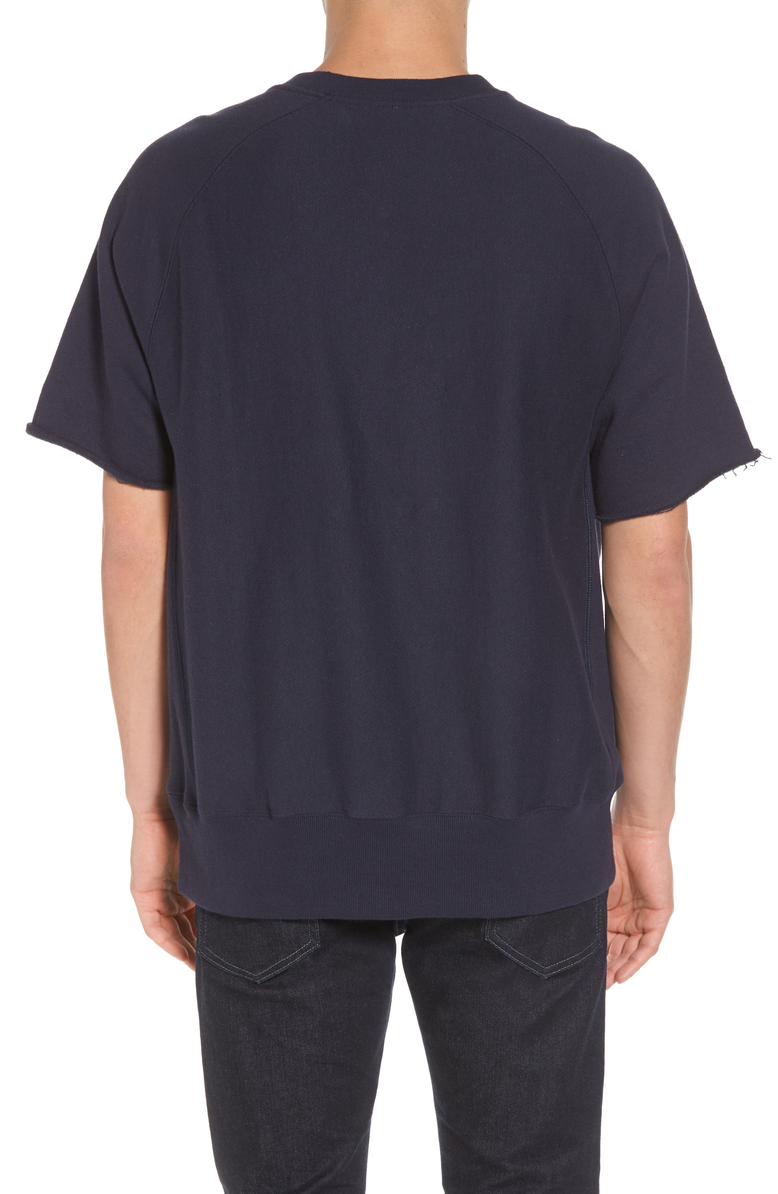 Reverse Weave Short Sleeve Sweatshirt,                             Alternate thumbnail 2, color,                             Navy
