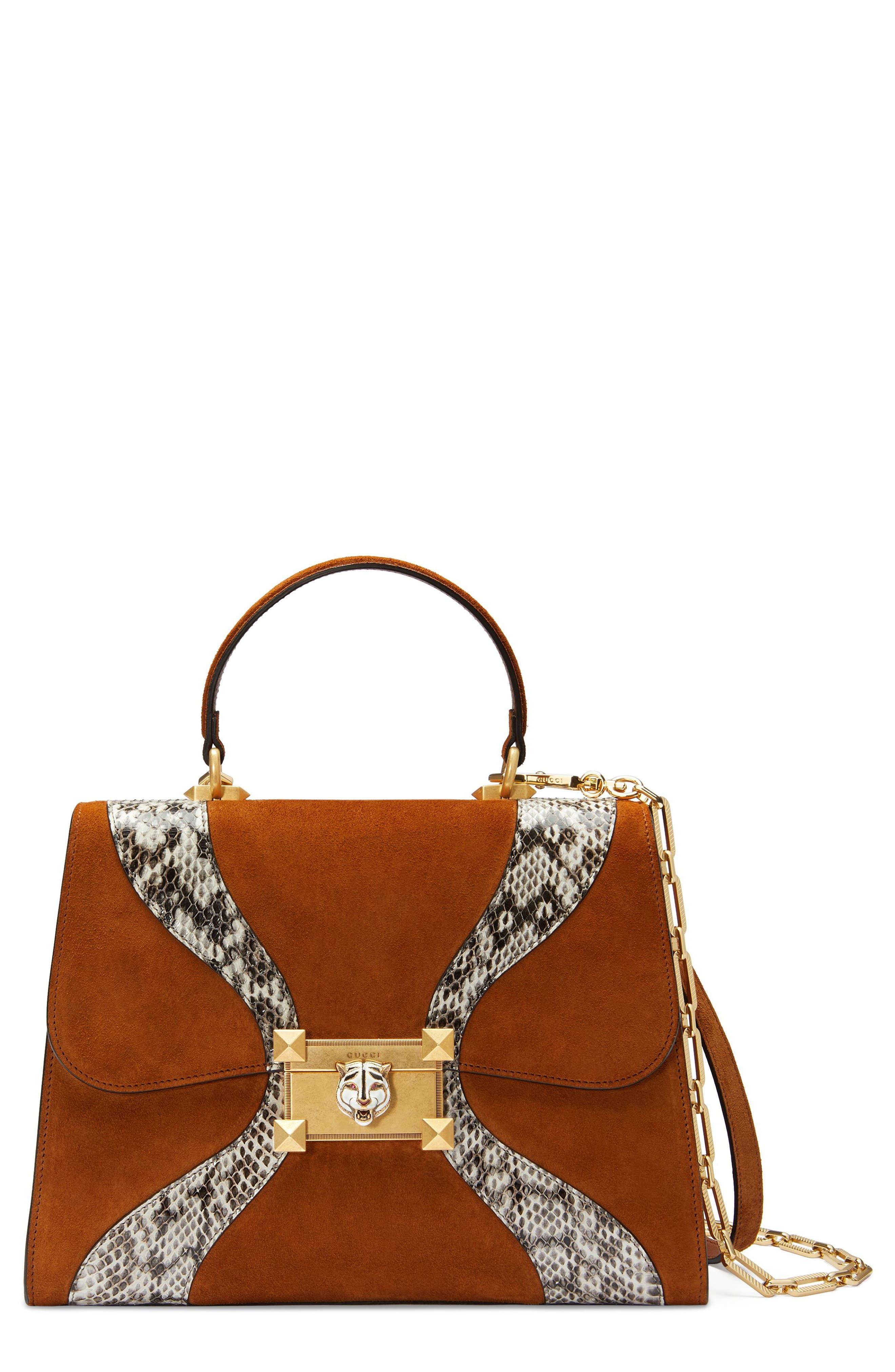 Small Osiride Leather & Canvas Top Handle Satchel,                             Main thumbnail 1, color,                             Bright Cuir/ Roccia