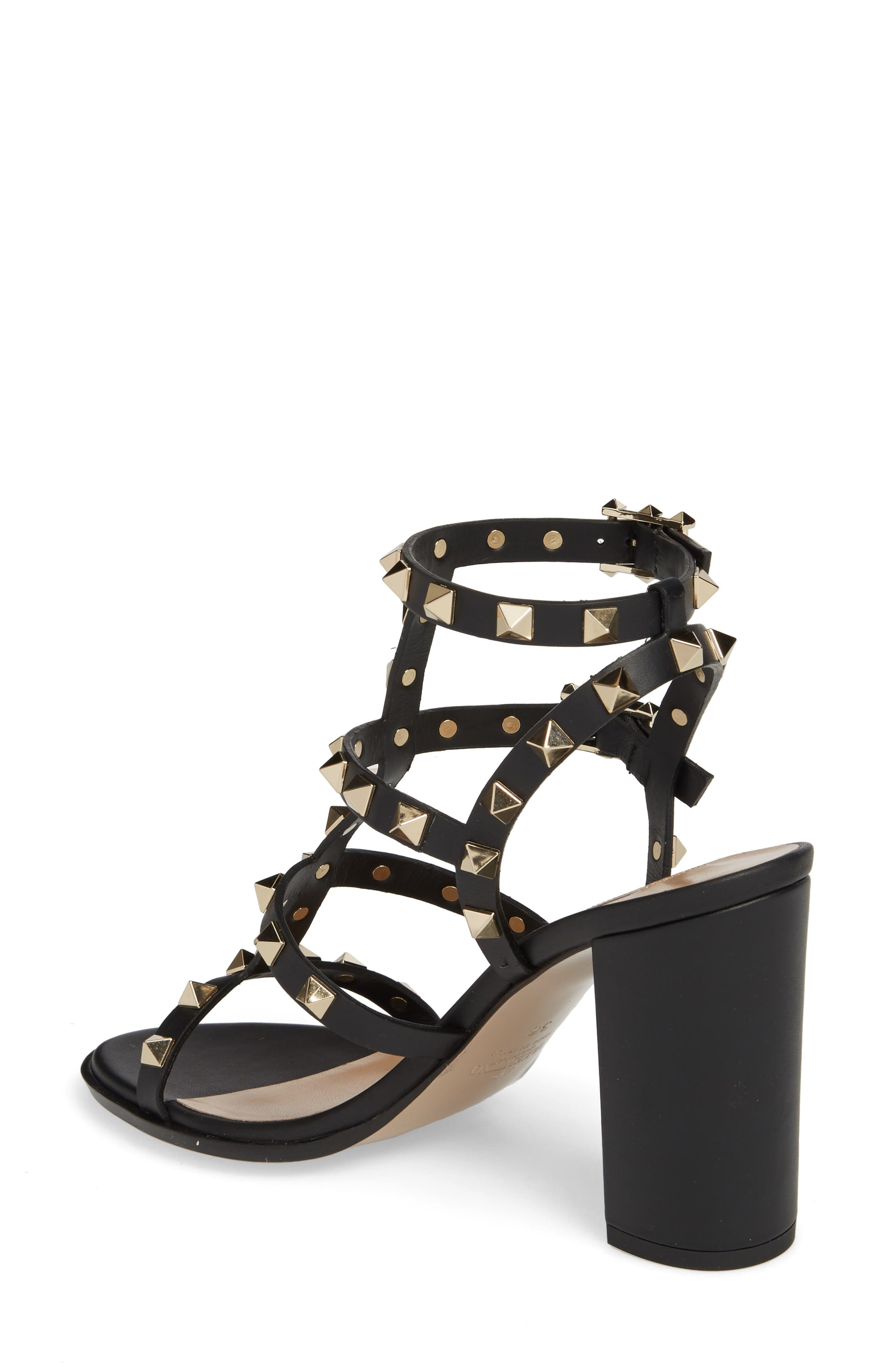 'Rockstud' T-Strap Sandal,                             Alternate thumbnail 2, color,                             Nero