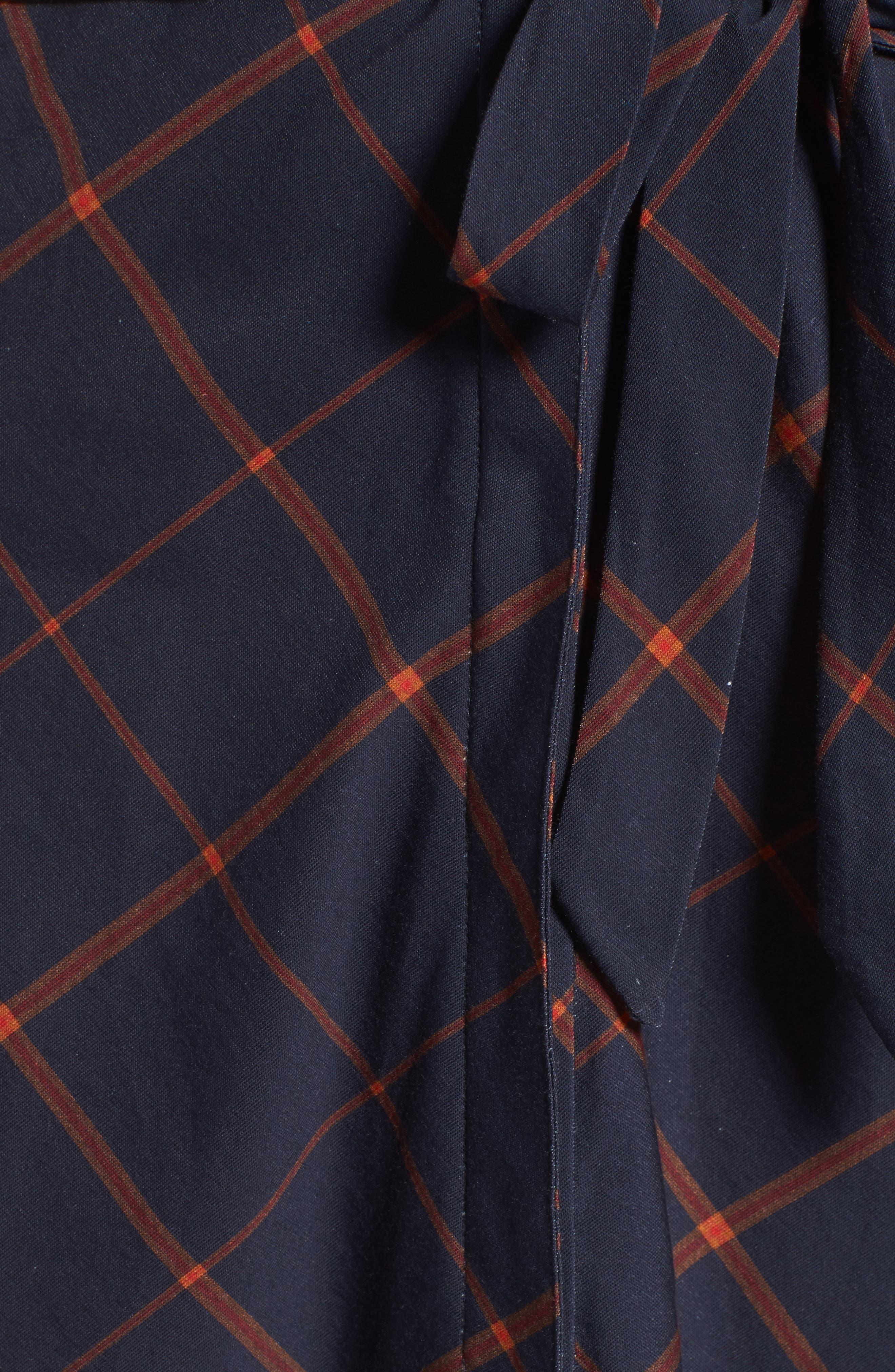Glenrothes Windowpane Plaid Dress,                             Alternate thumbnail 5, color,                             Navy Check