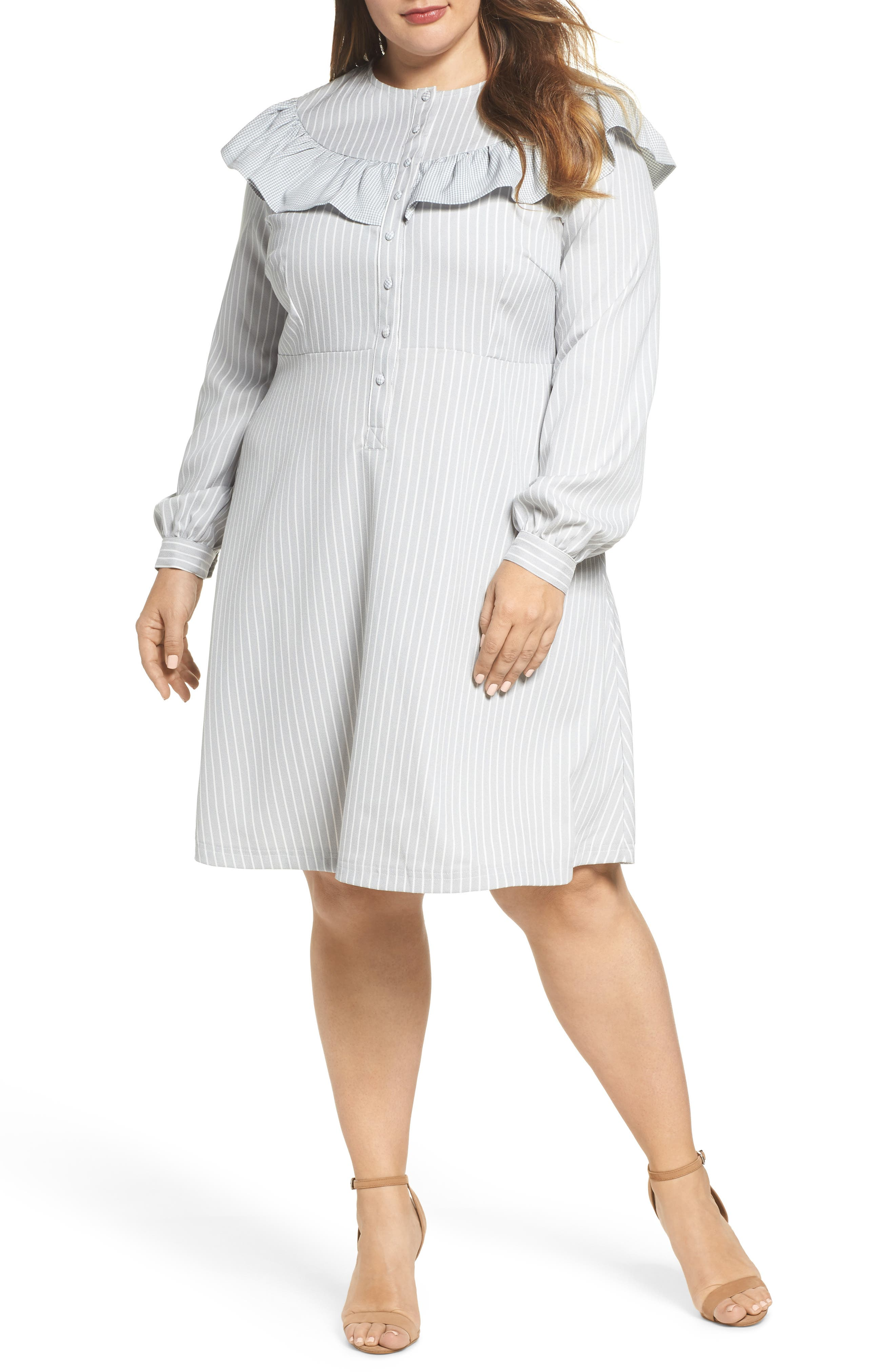 Check Ruffle Stripe Dress,                             Main thumbnail 1, color,                             Grey