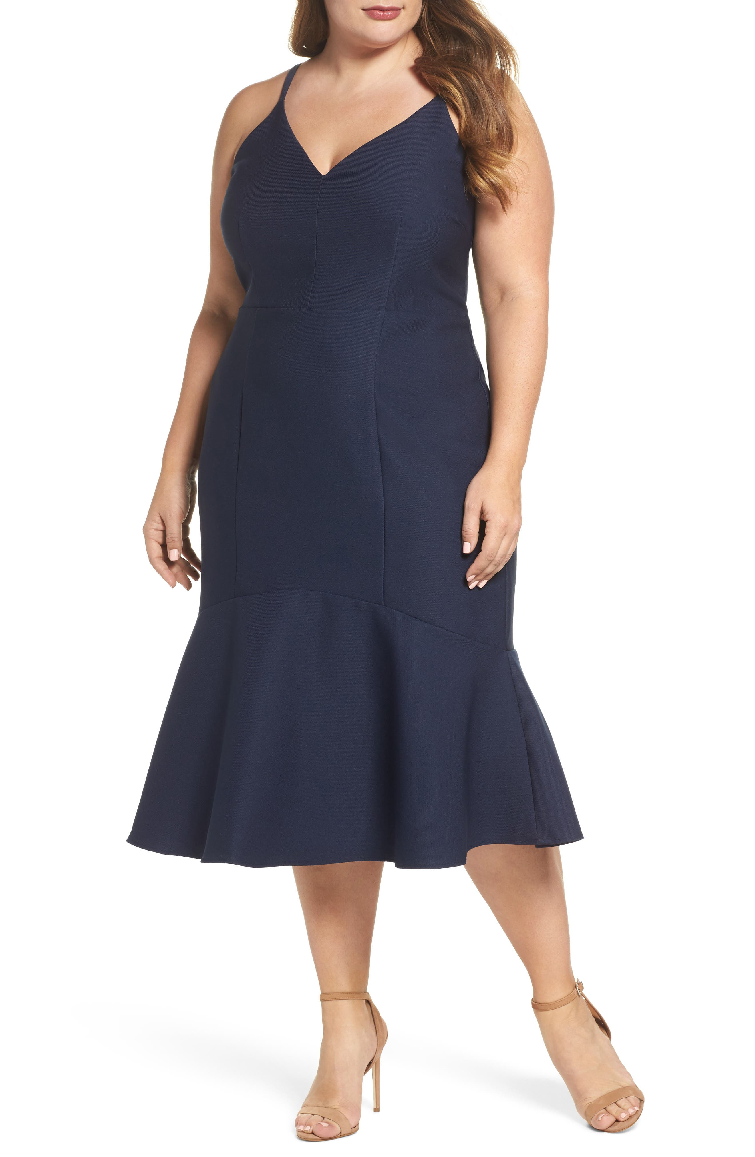 Main Image - Cooper St Azalea Flounce Hem Dress (Plus Size)