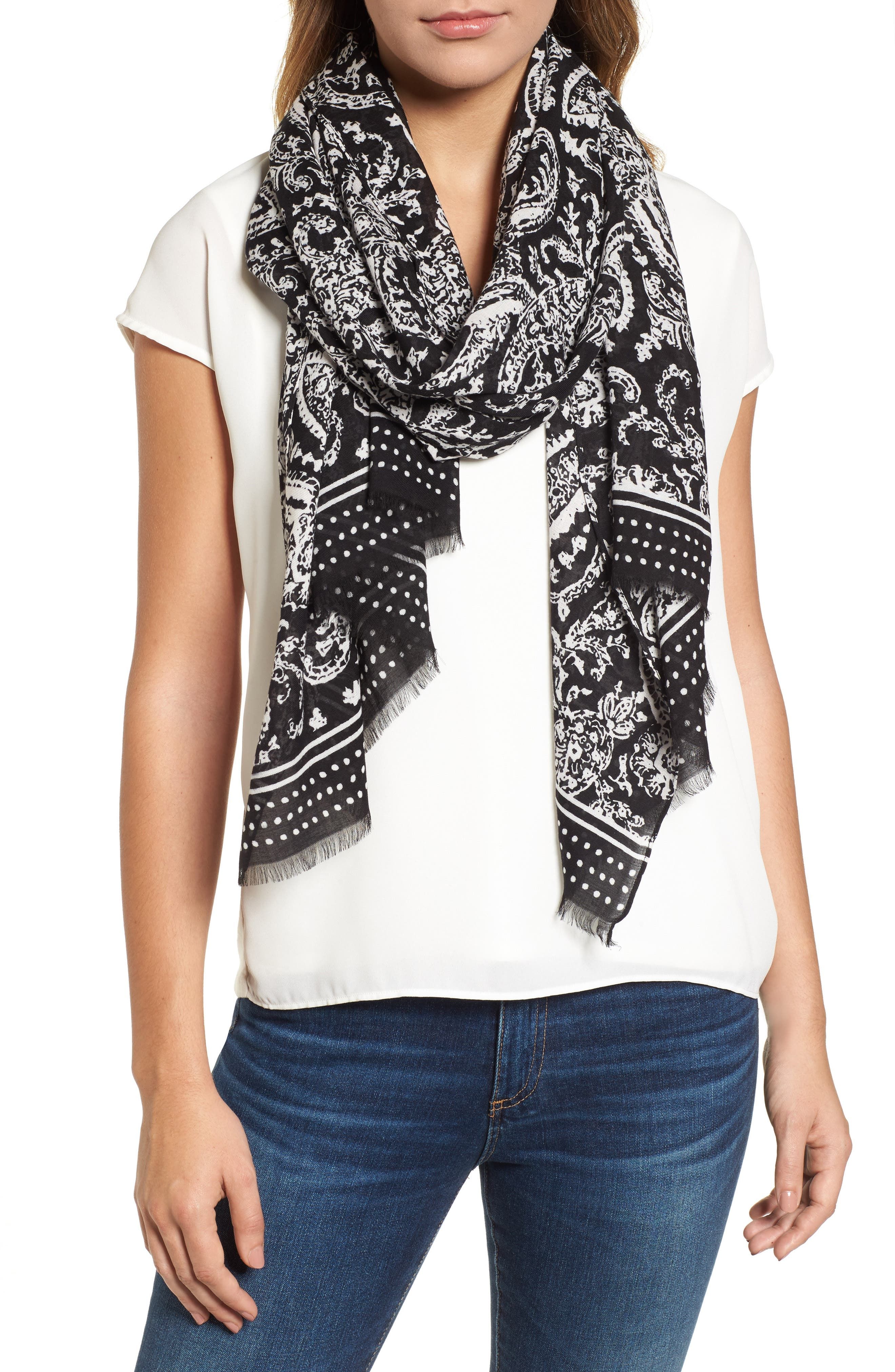 Ornament Paisley Scarf,                         Main,                         color, Black