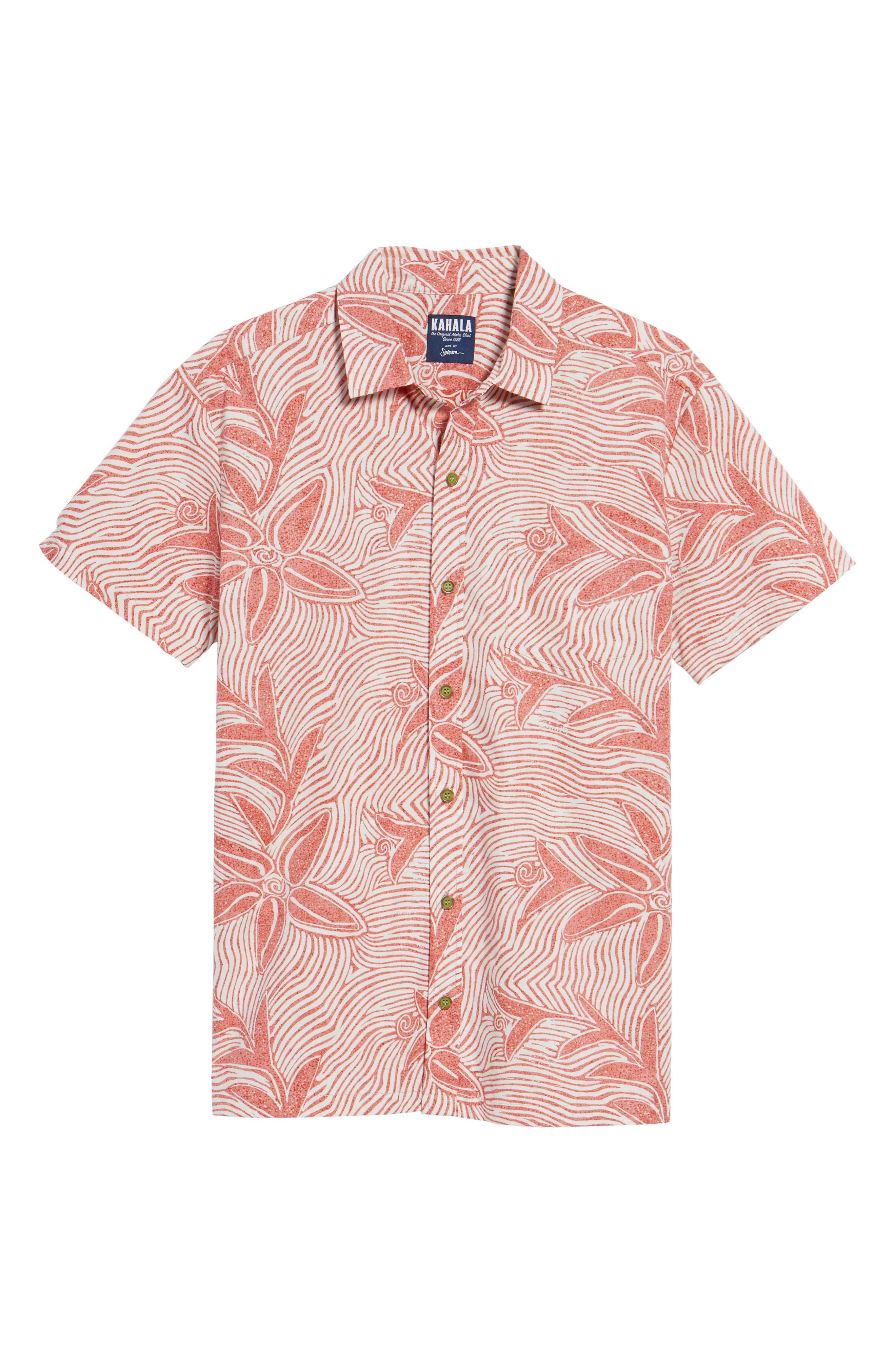 Coral Star Trim Fit Print Sport Shirt,                             Alternate thumbnail 6, color,                             Red