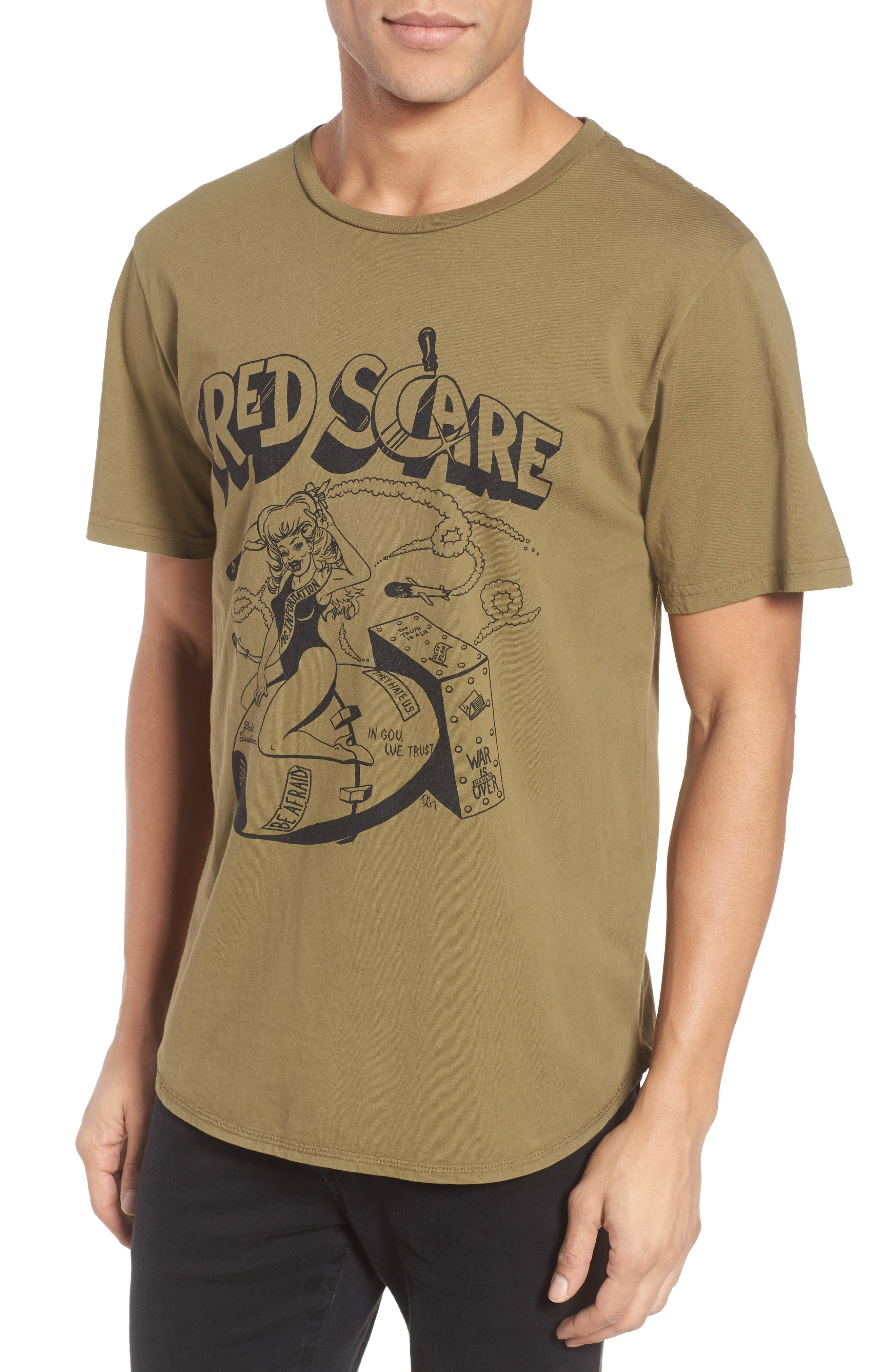Red Scare Graphic T-Shirt,                             Main thumbnail 1, color,                             Infantry Green