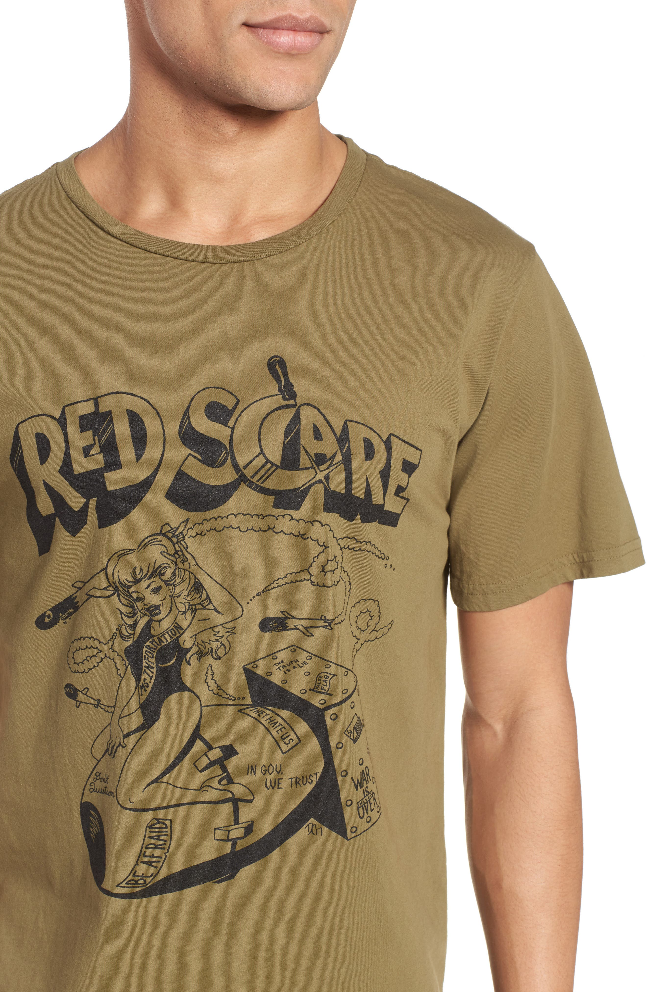 Red Scare Graphic T-Shirt,                             Alternate thumbnail 4, color,                             Infantry Green