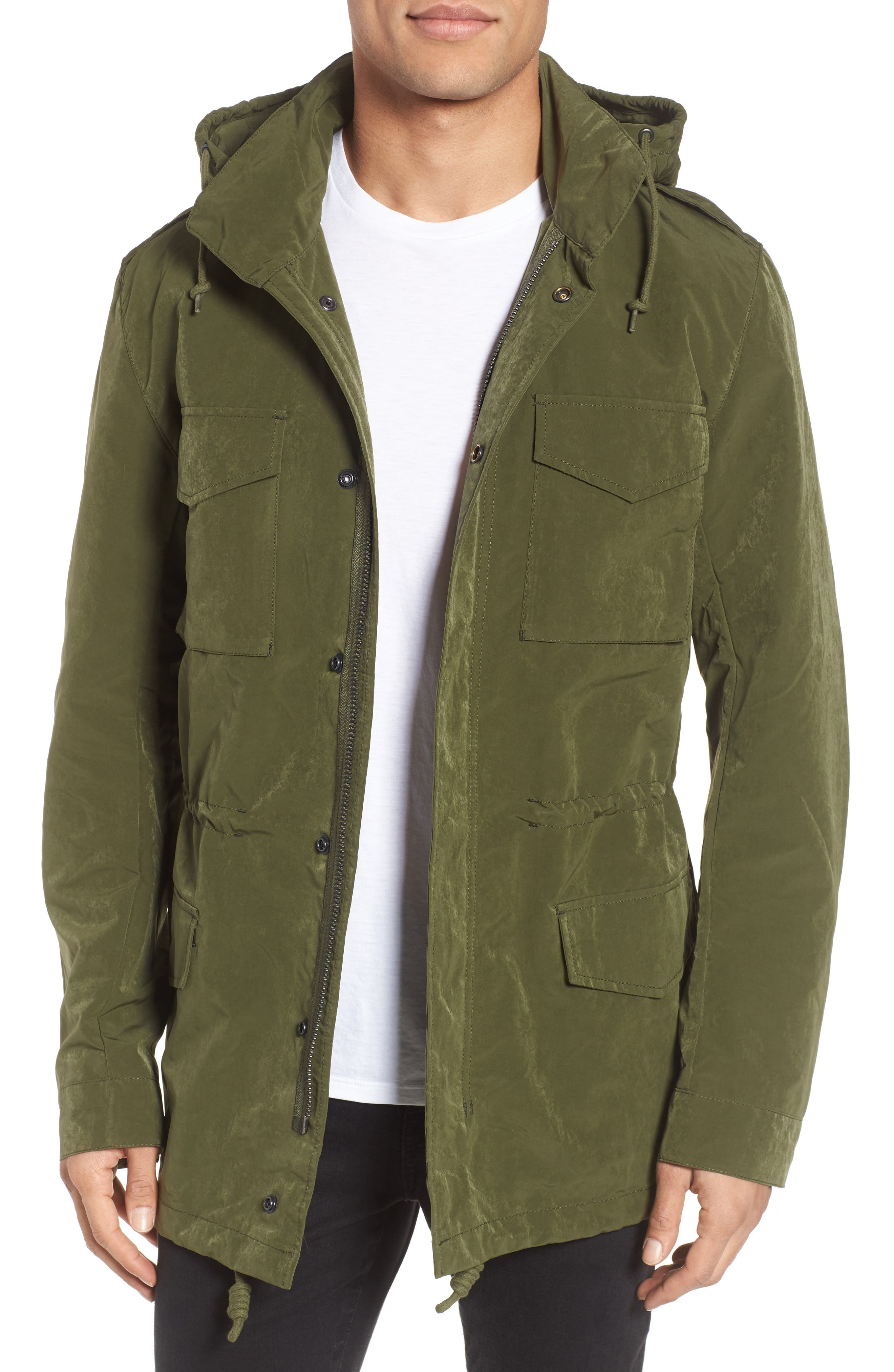 Wax Sanded Jacket,                         Main,                         color, Bronze Green