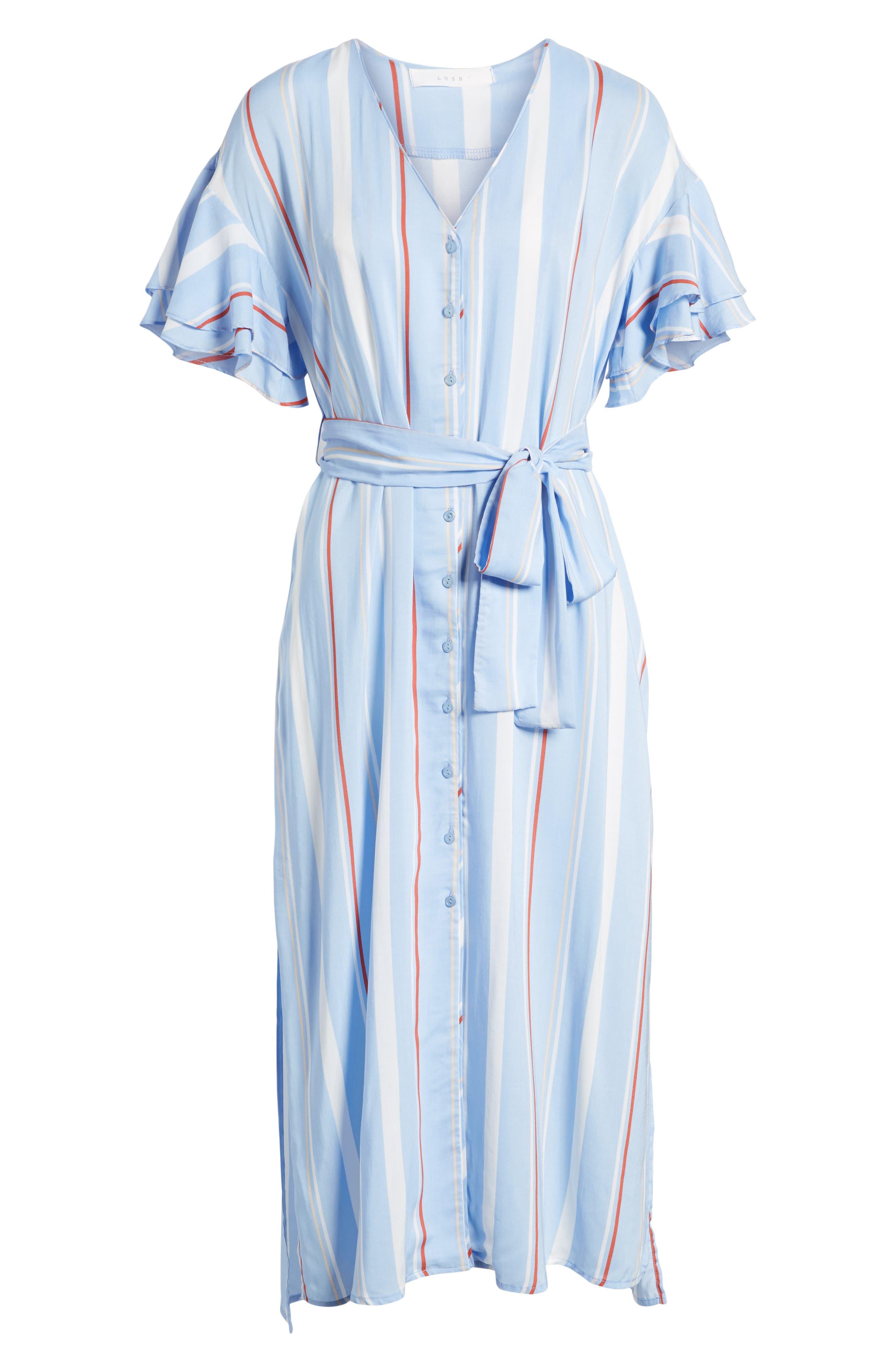 Button Down Midi Shirtdress,                             Alternate thumbnail 6, color,                             Light Blue-Rust