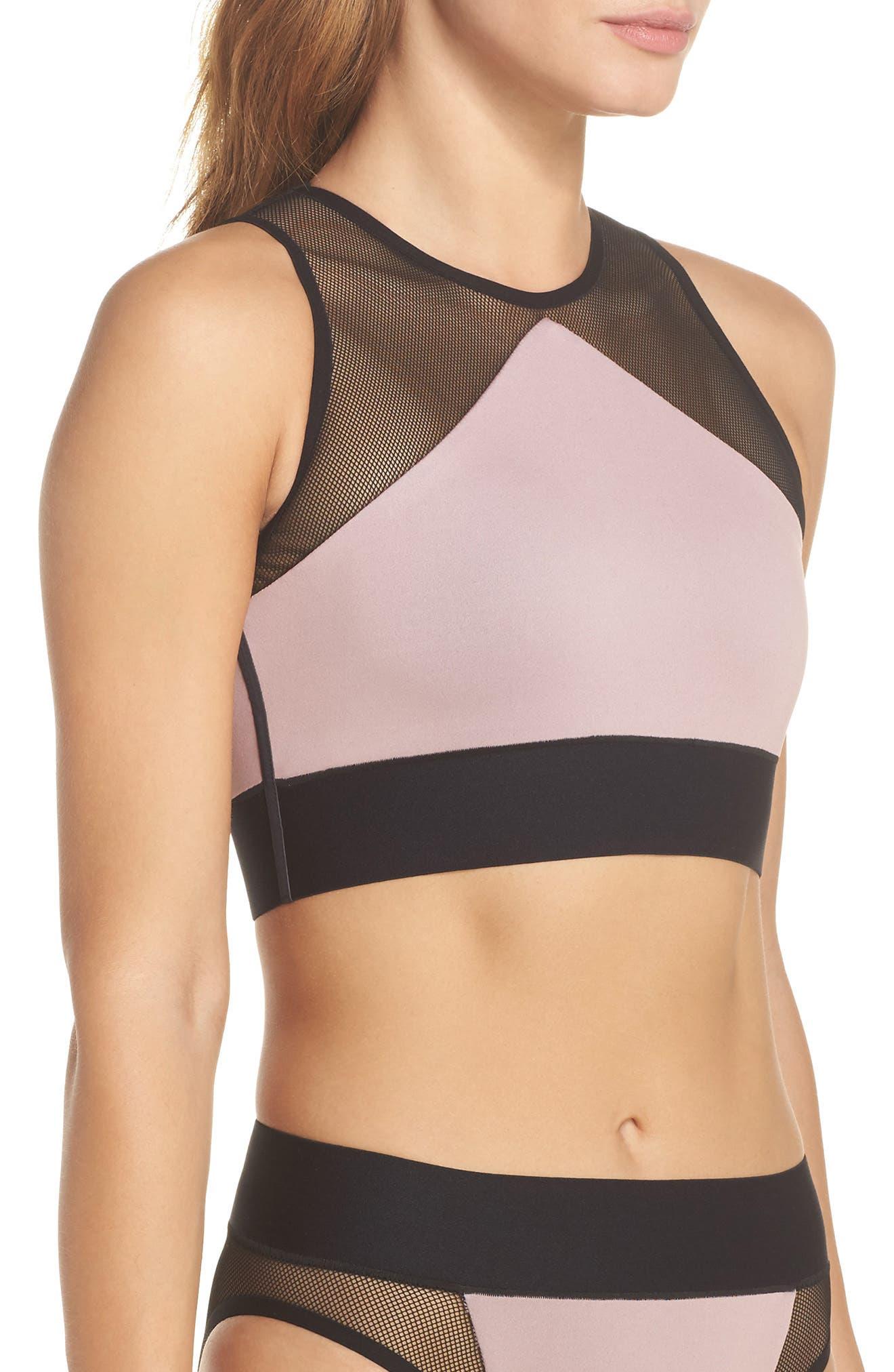 Adrift Sport Mesh Bikini Top,                             Alternate thumbnail 3, color,                             Blush Pink
