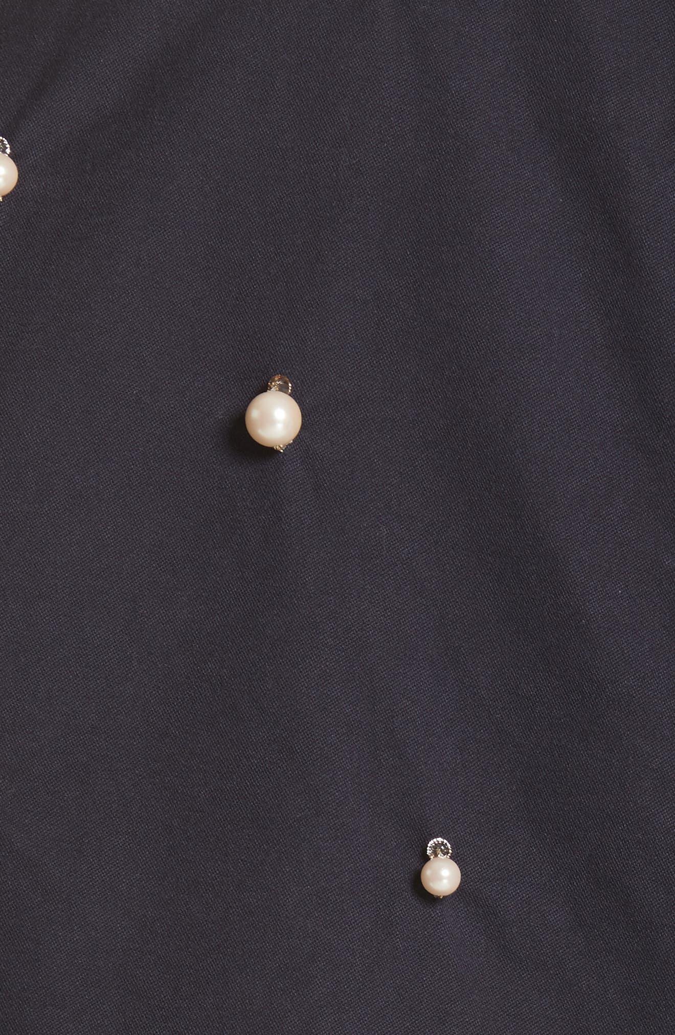 Snow Imitation Pearl Embellished Field Jacket,                             Alternate thumbnail 5, color,                             Navy Navy