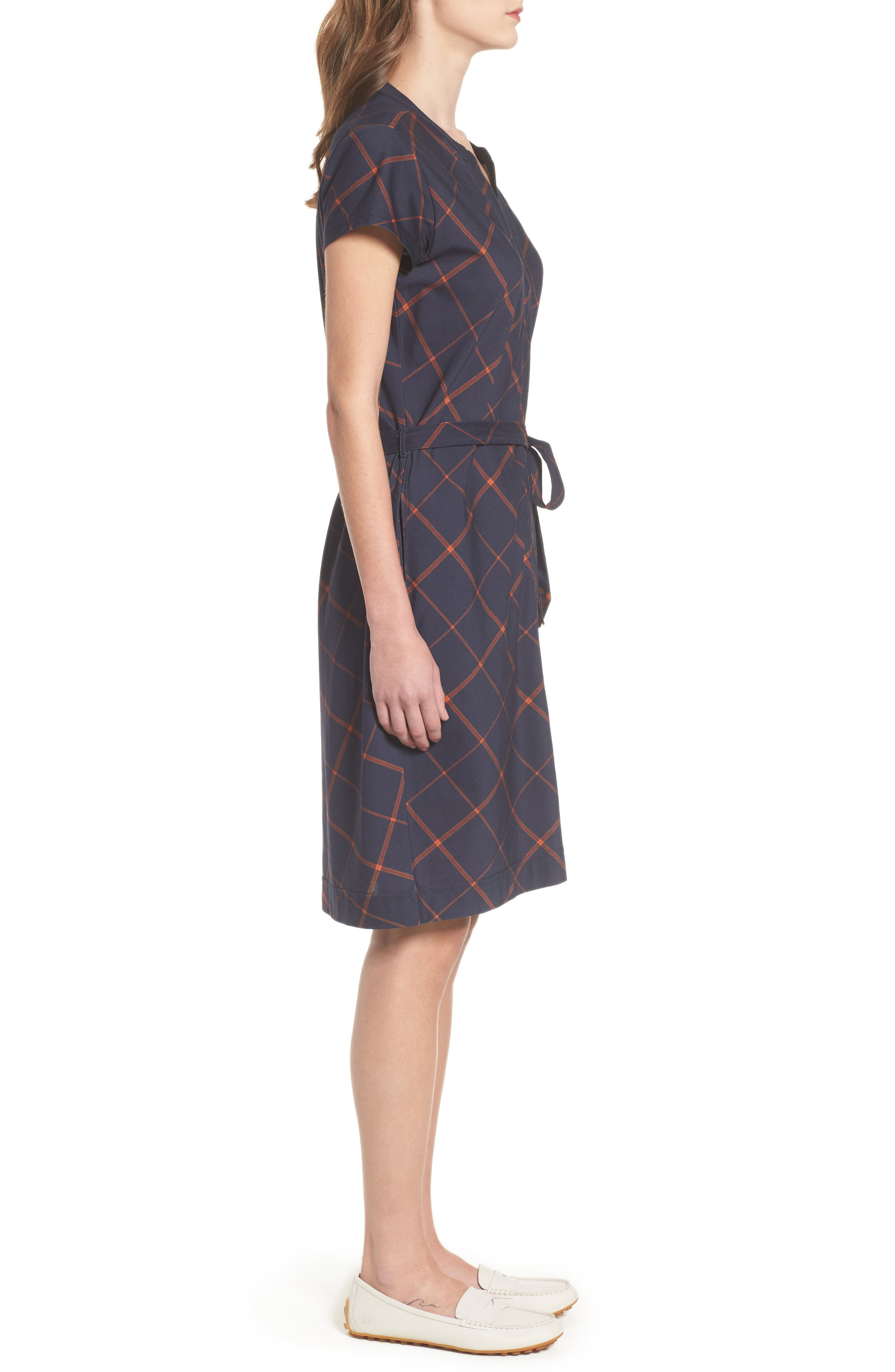 Glenrothes Windowpane Plaid Dress,                             Alternate thumbnail 3, color,                             Navy Check