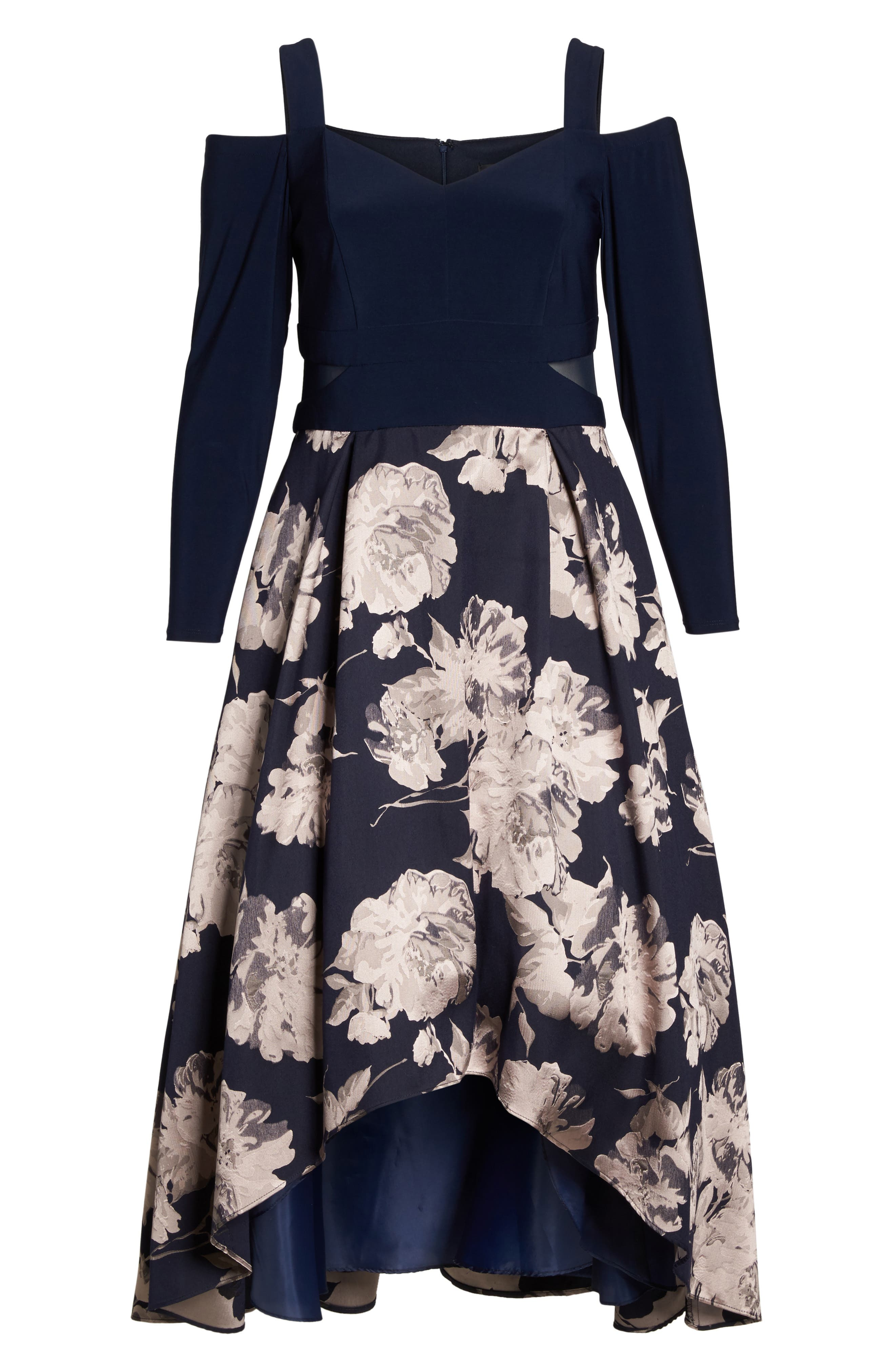 Alternate Image 6  - Xscape Cold Shoulder Brocade High/Low Dress (Plus Size)
