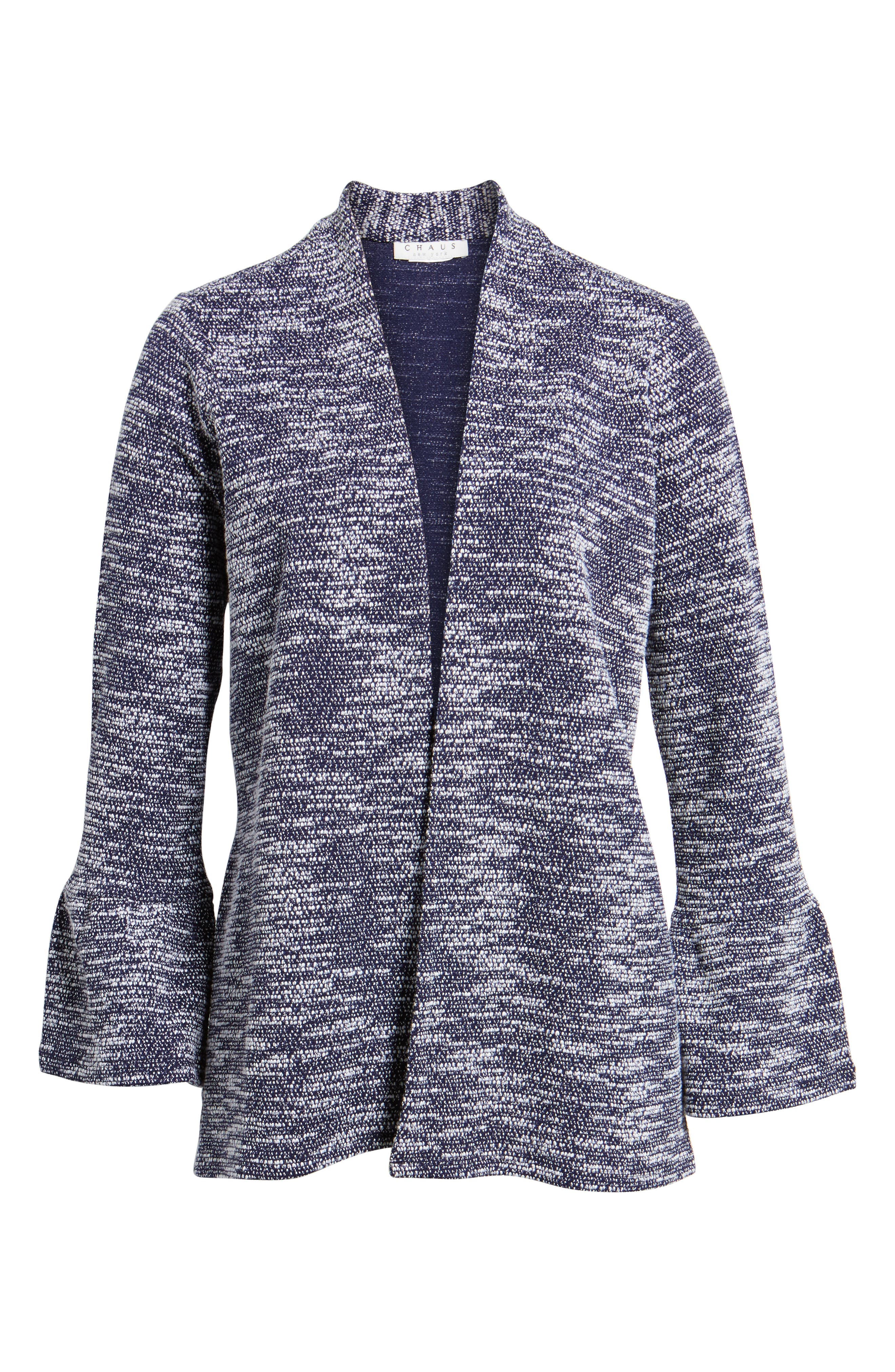 Bell Cuff Textured Cardigan,                             Alternate thumbnail 6, color,                             529-Evening Navy