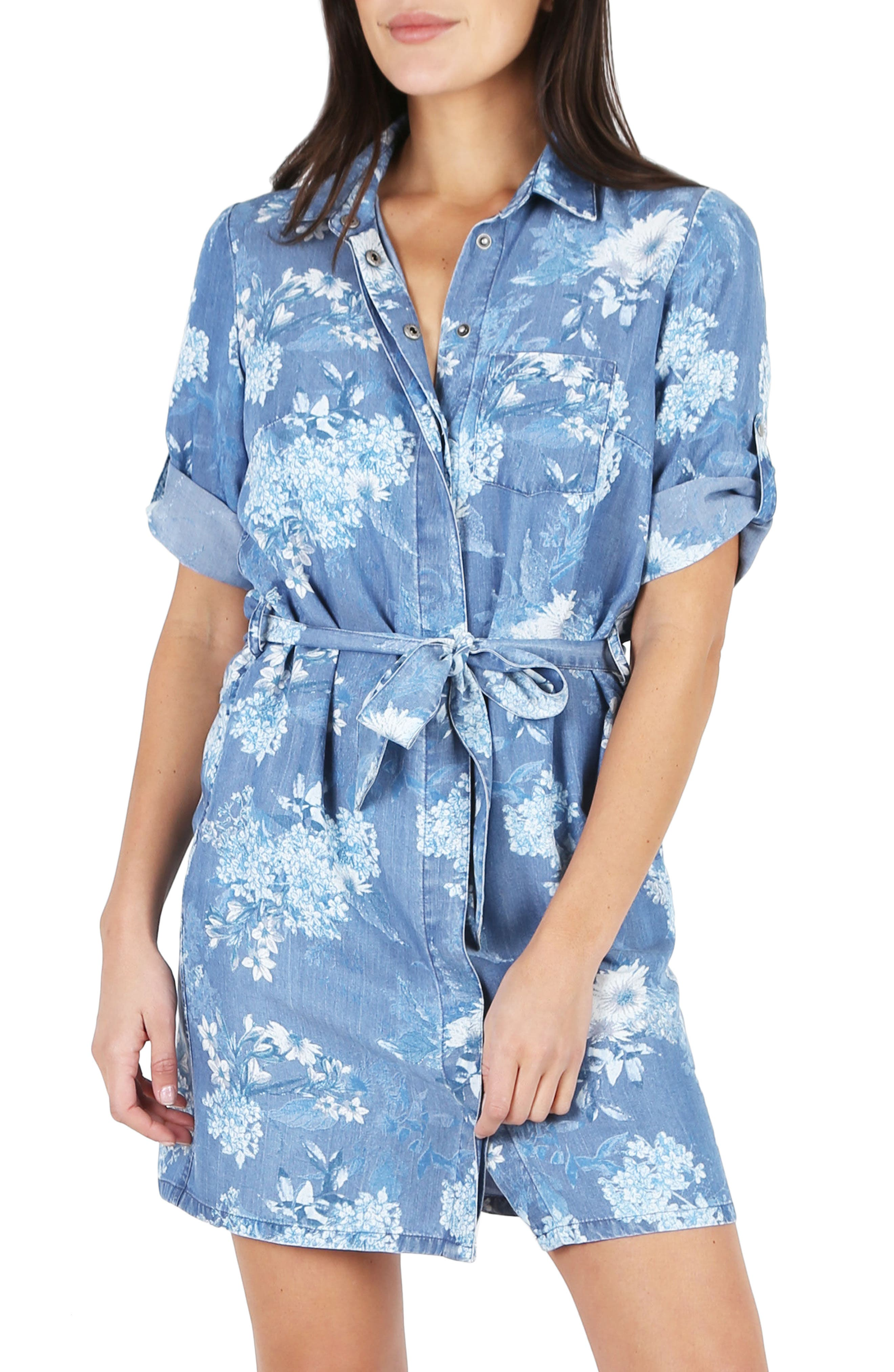 Amerie Belted Chambray Dress,                             Main thumbnail 1, color,                             Chambray