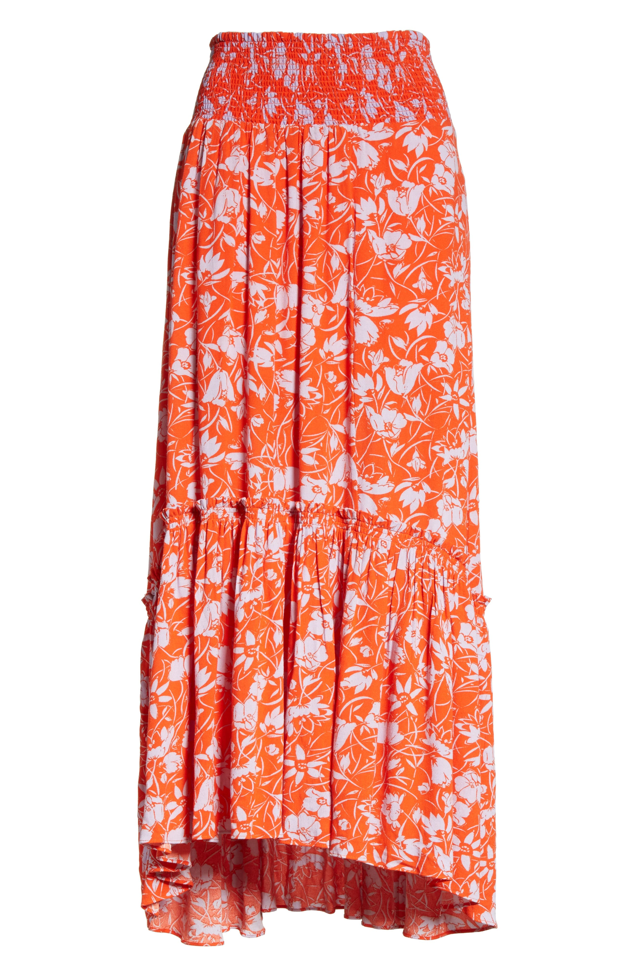 Way of the Wind Print Maxi Skirt,                             Alternate thumbnail 6, color,                             Red
