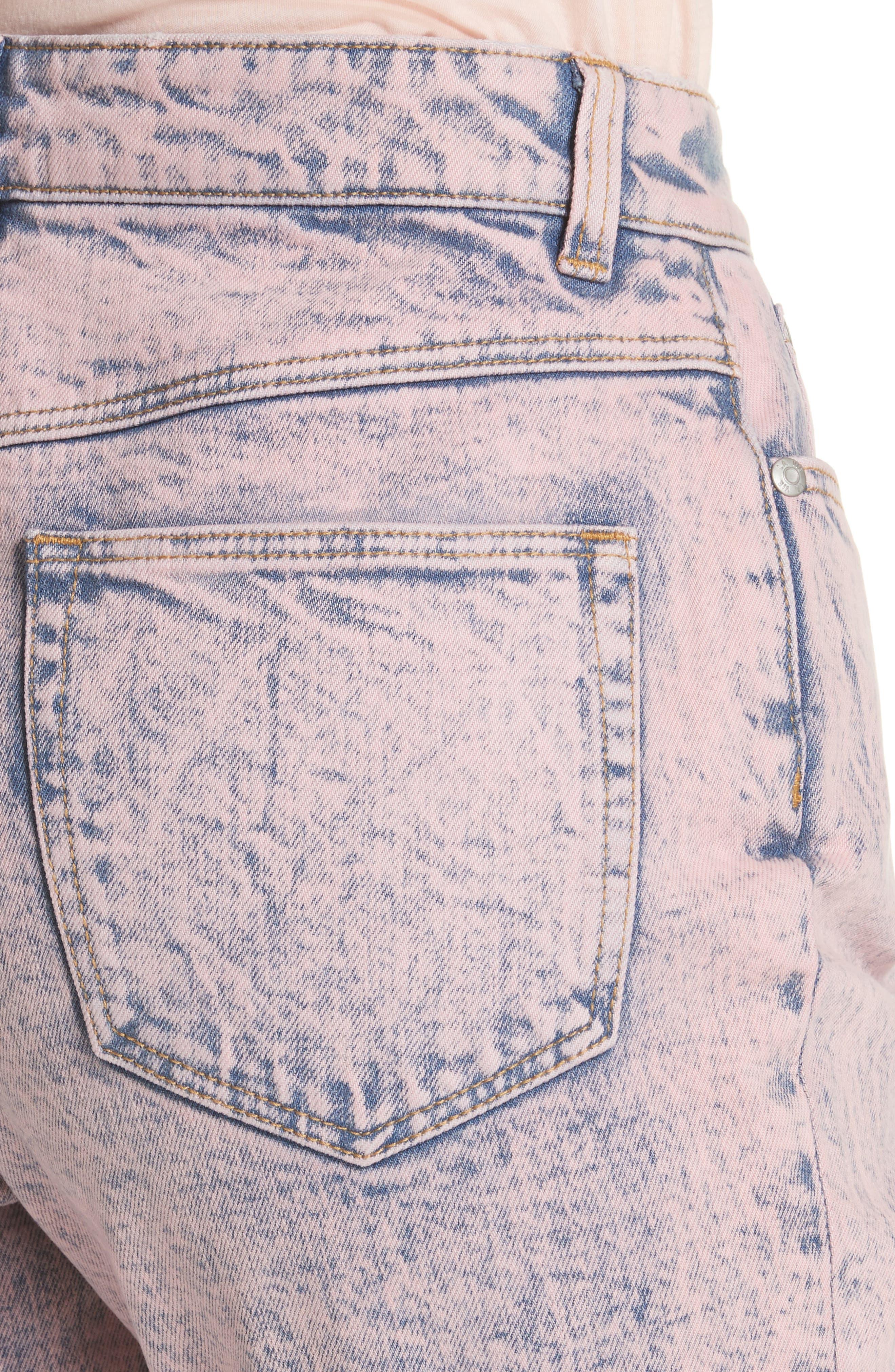 Ines Acid Wash Crop Jeans,                             Alternate thumbnail 4, color,                             Pink Overdyed Acid Wash