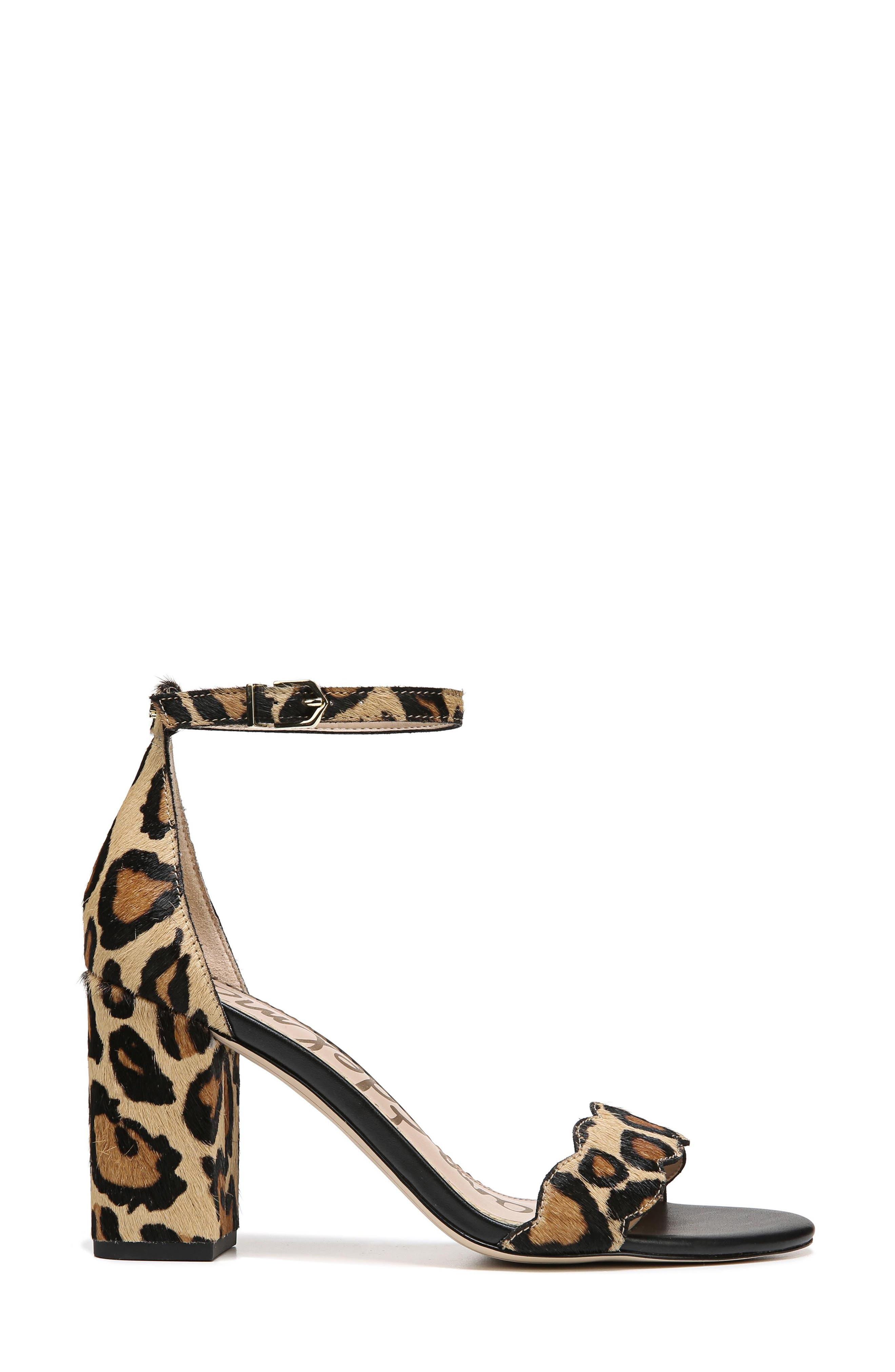 Odila Genuine Calf Hair Sandal,                             Alternate thumbnail 3, color,                             New Nude Leopard Calf Hair