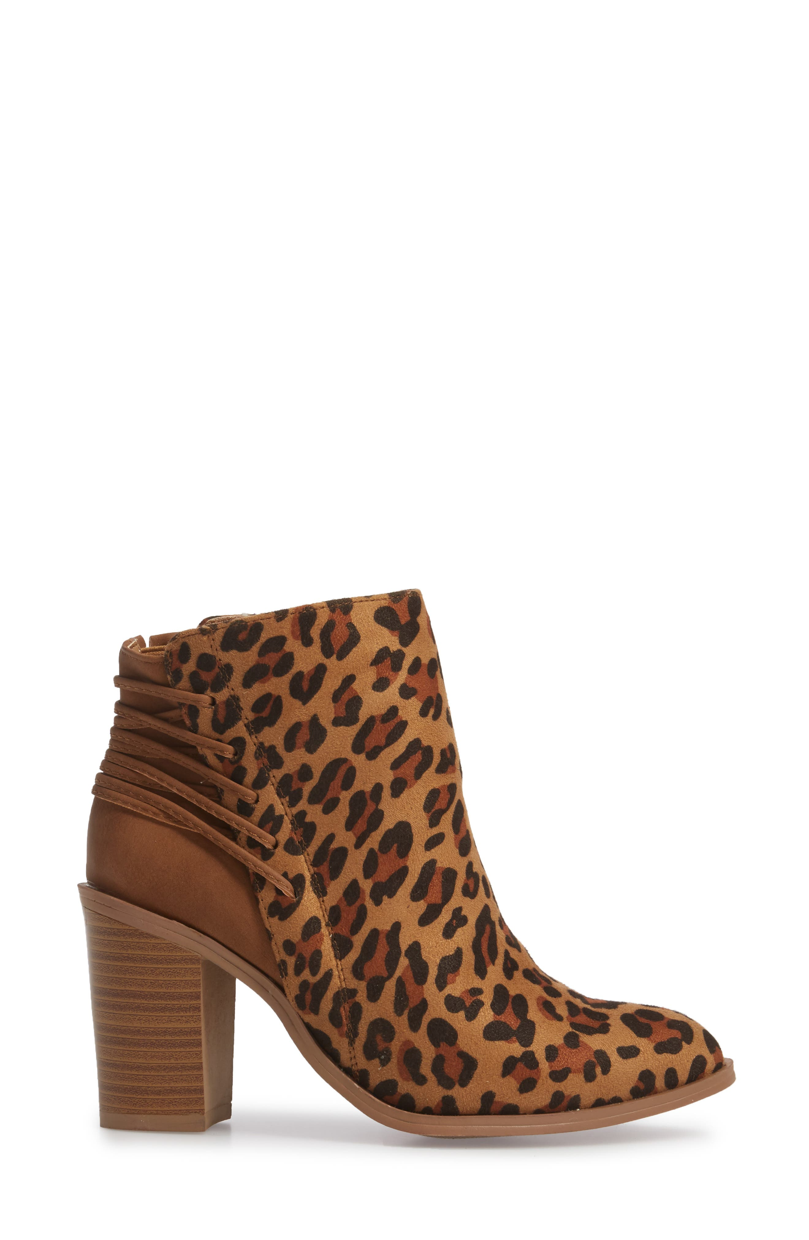 Lacey Leopard Bootie,                             Alternate thumbnail 3, color,                             Tan Leopard Suede Leather