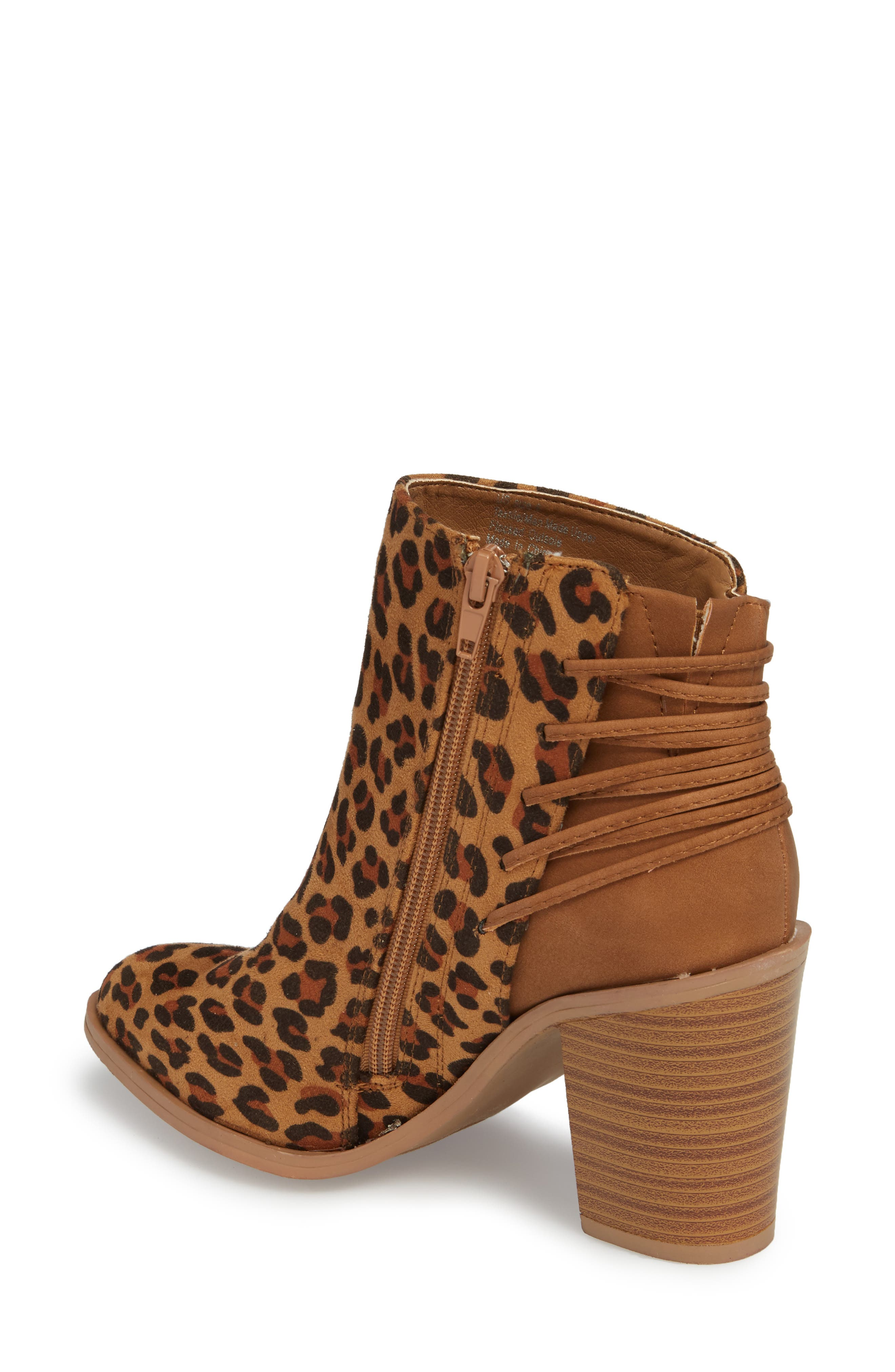Lacey Leopard Bootie,                             Alternate thumbnail 2, color,                             Tan Leopard Suede Leather