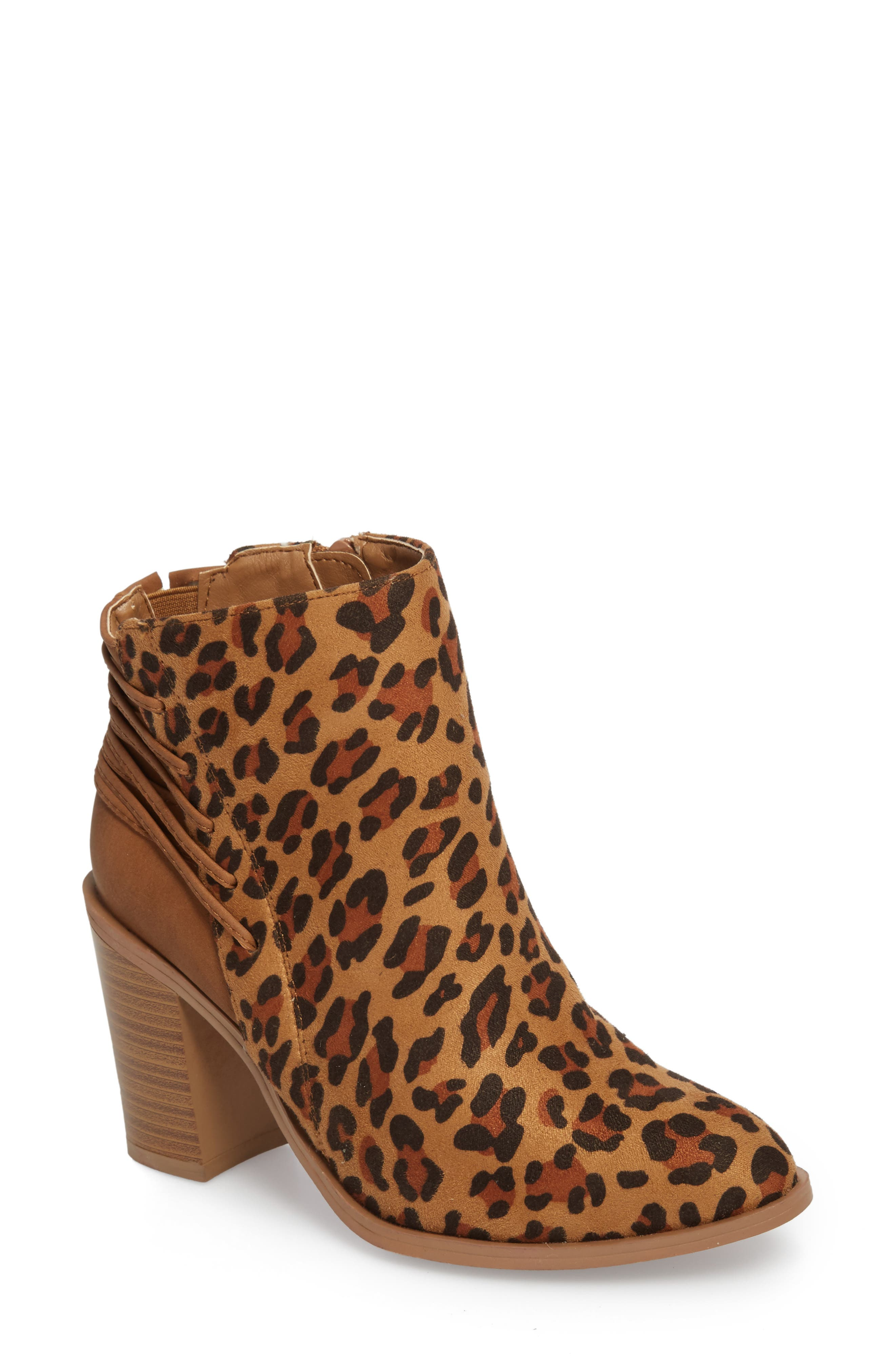 Lacey Leopard Bootie,                             Main thumbnail 1, color,                             Tan Leopard Suede Leather