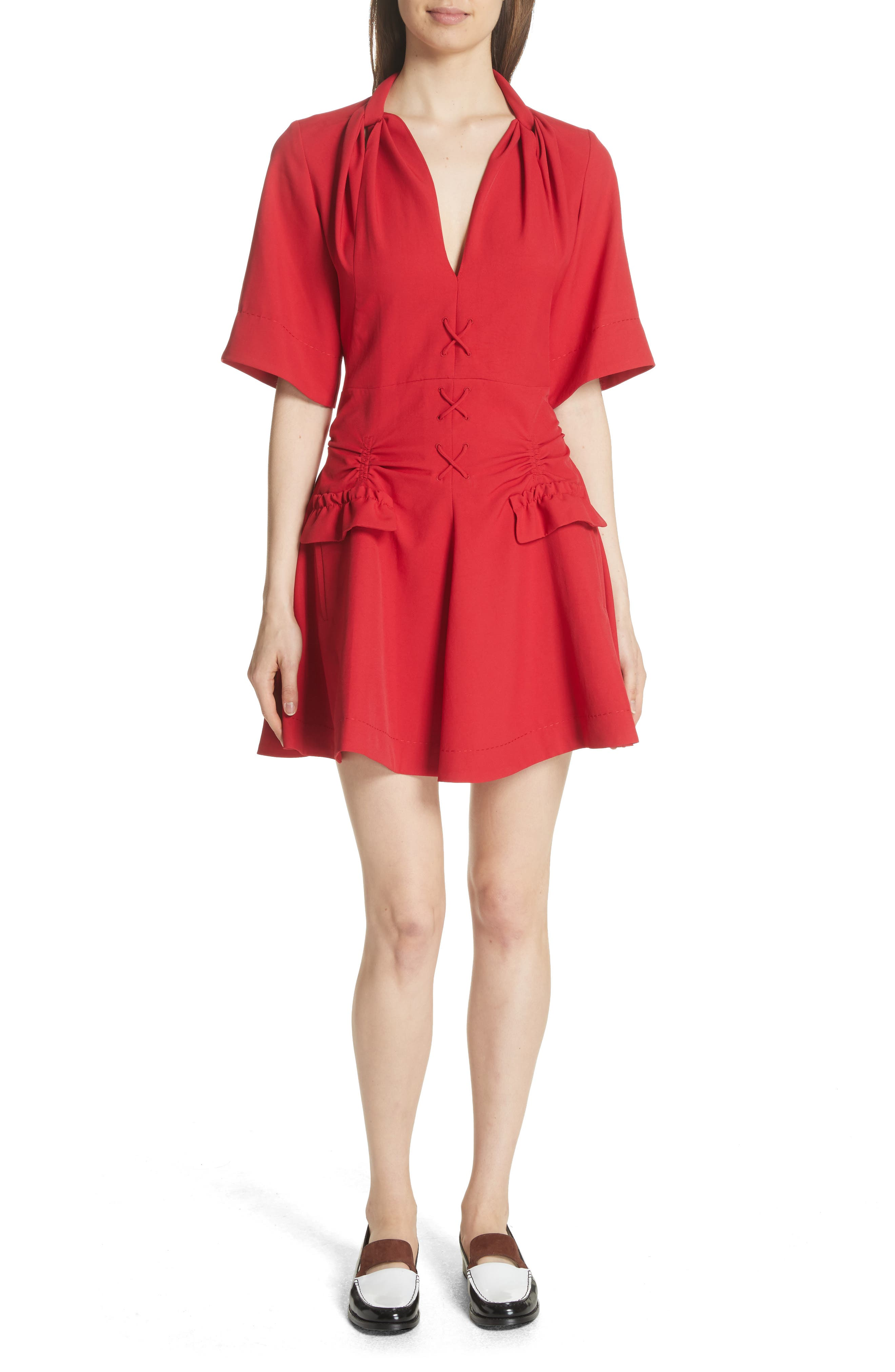 Alternate Image 1 Selected - Carven Robe Courte Lace-Up Dress
