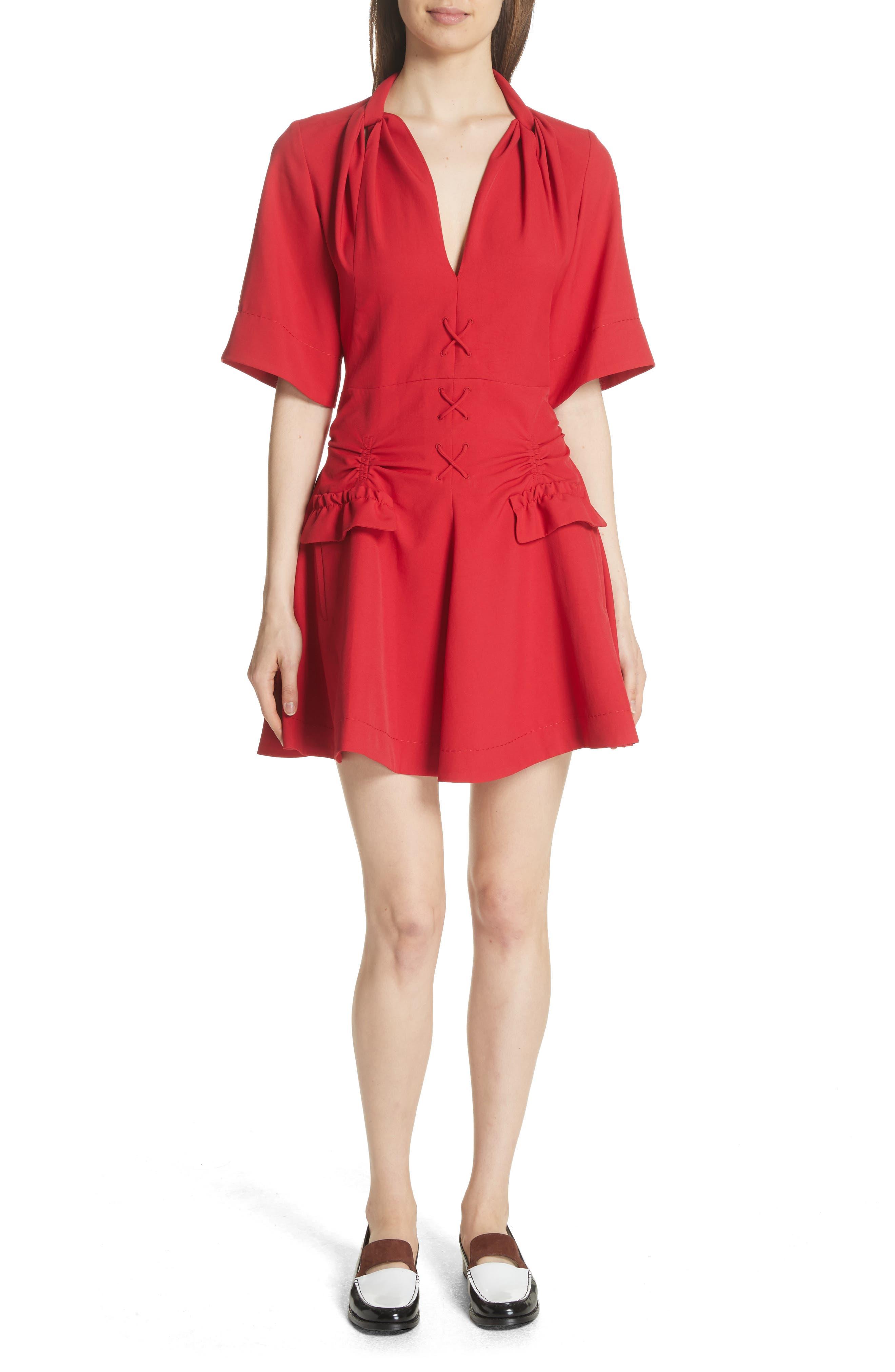 Main Image - Carven Robe Courte Lace-Up Dress
