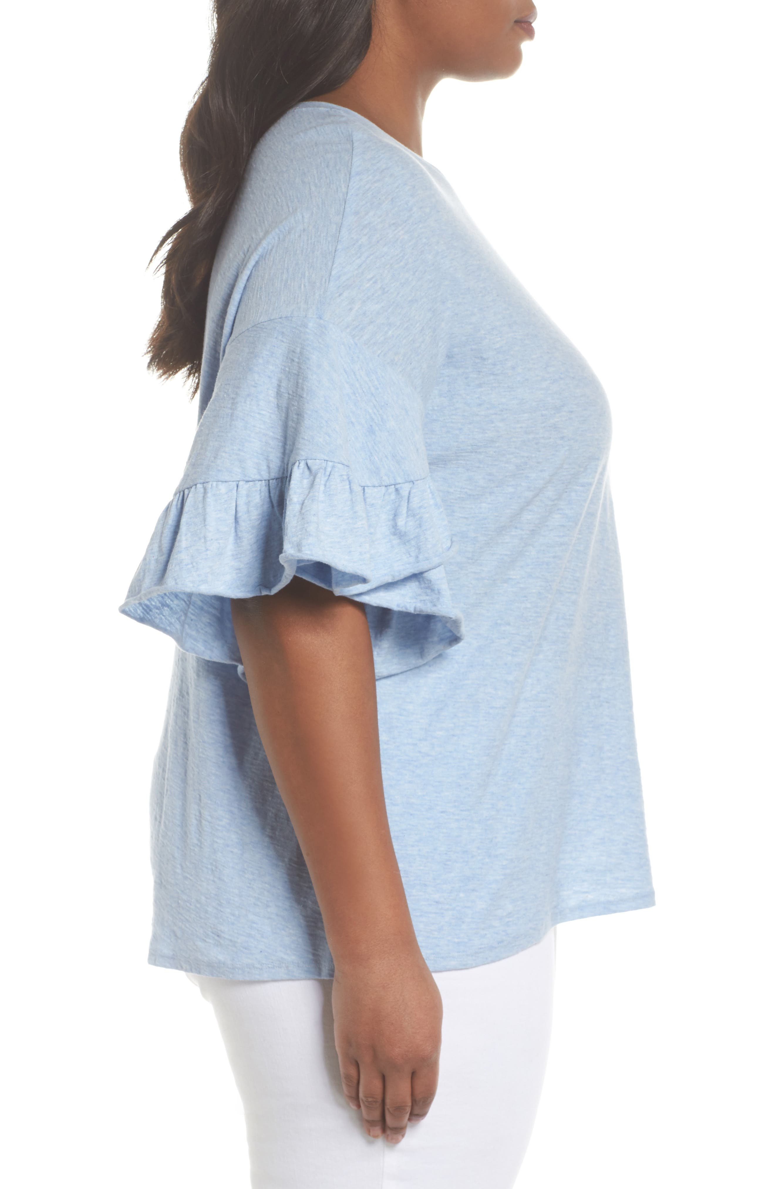 Drop Shoulder Tiered Ruffle Sleeve Top,                             Alternate thumbnail 3, color,                             Lt Chambray Heather