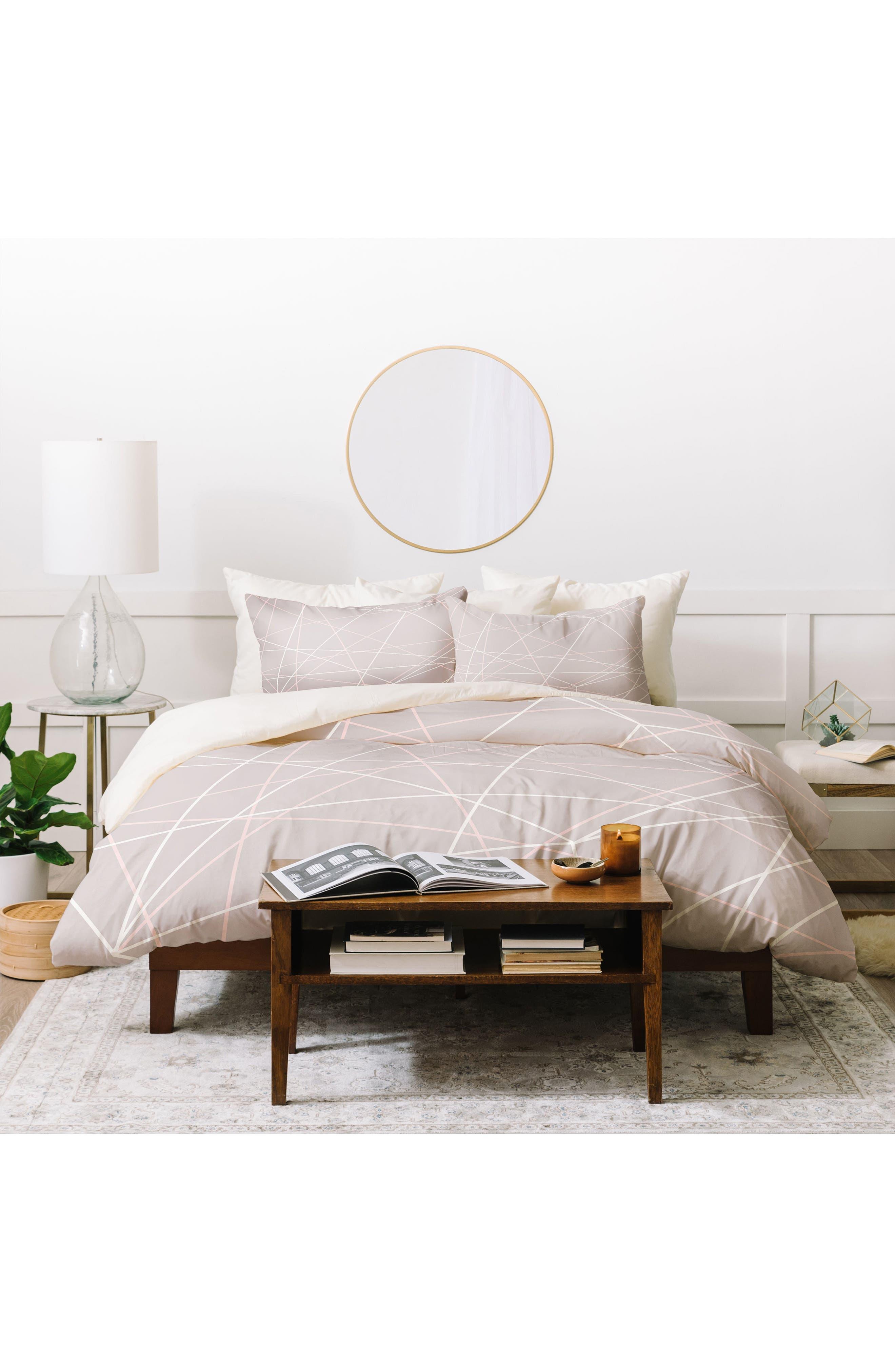 Pastel Lines Duvet Cover & Sham Set,                         Main,                         color, Grey
