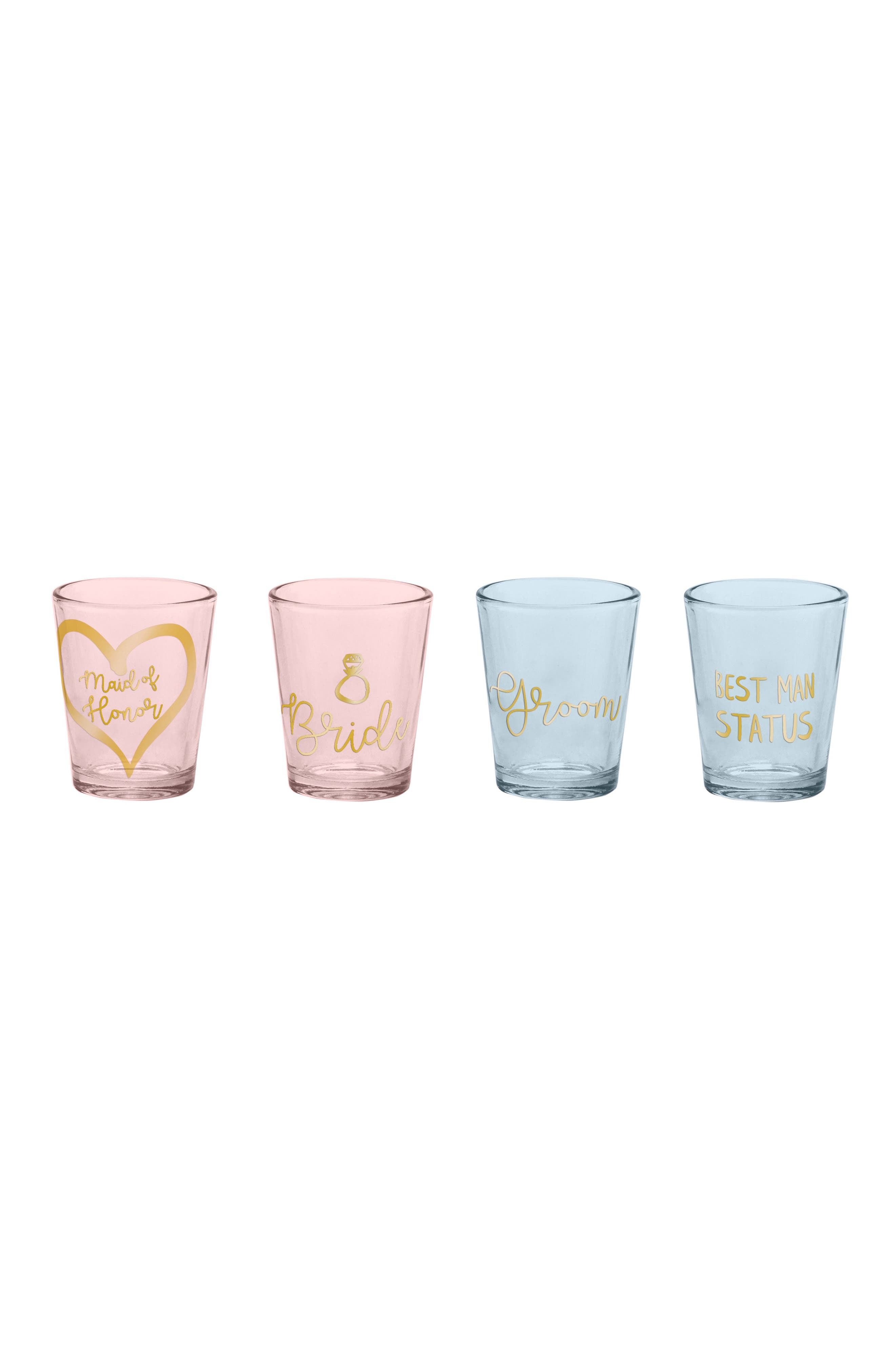 Wedding Party Set of 4 Shot Glasses,                             Main thumbnail 1, color,                             Pink And Blue