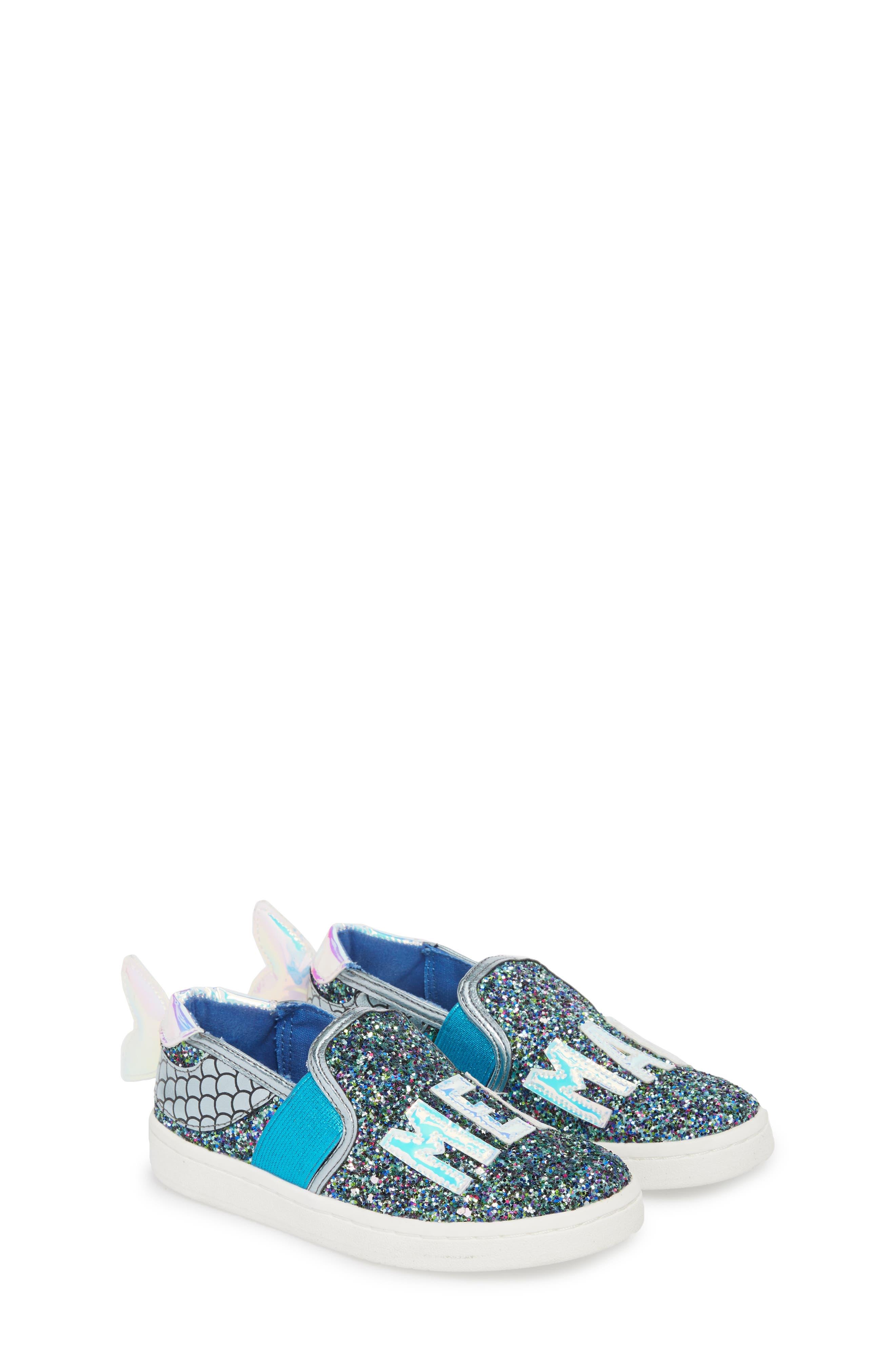 Blane Slip-On Sneaker,                             Alternate thumbnail 5, color,                             Blue Glitter