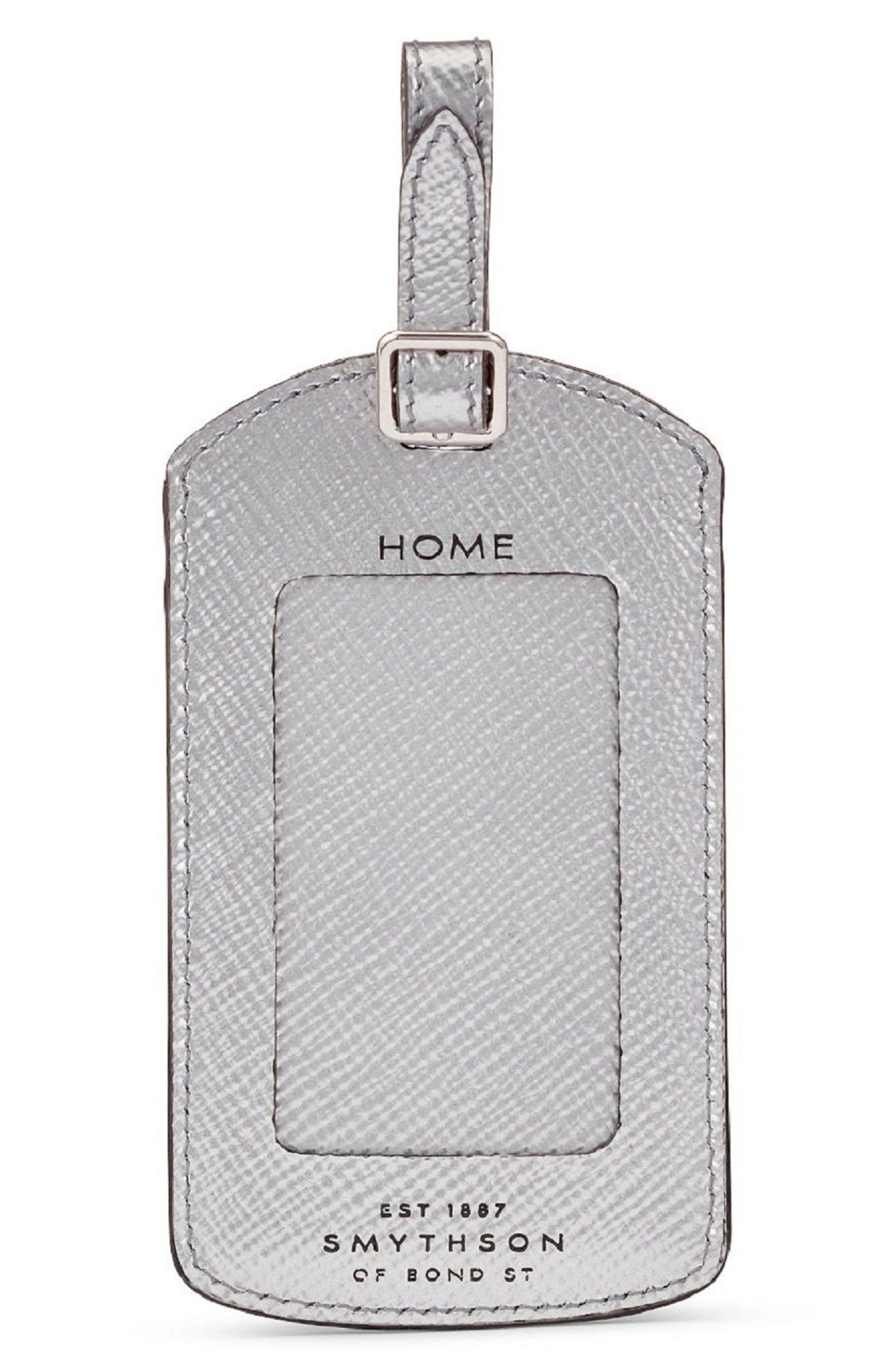 Home/Destination Calfskin Leather Luggage Tag,                         Main,                         color, Silver