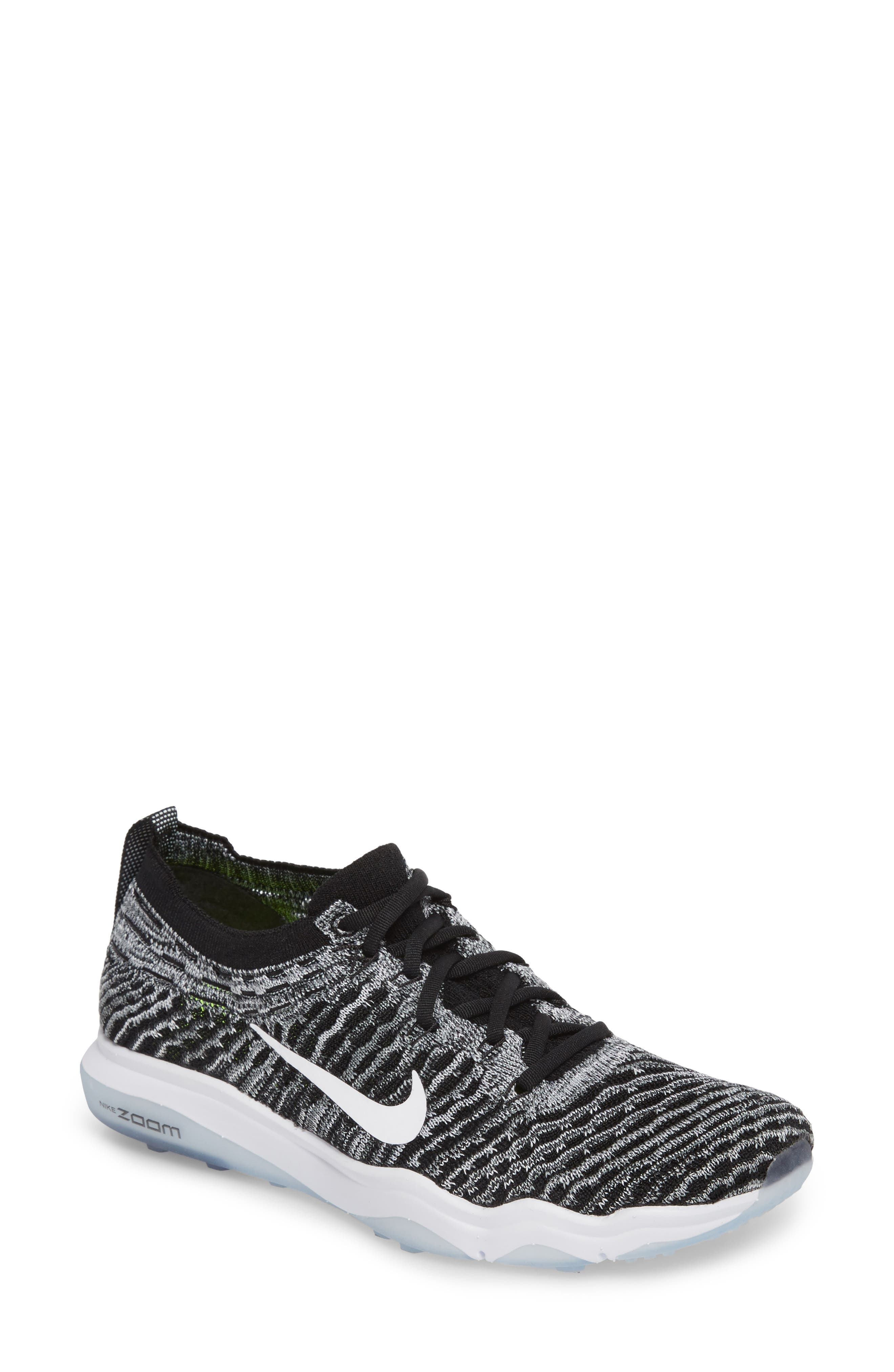 Air Zoom Fearless Flyknit Lux Training Shoe,                         Main,                         color, Black/ White