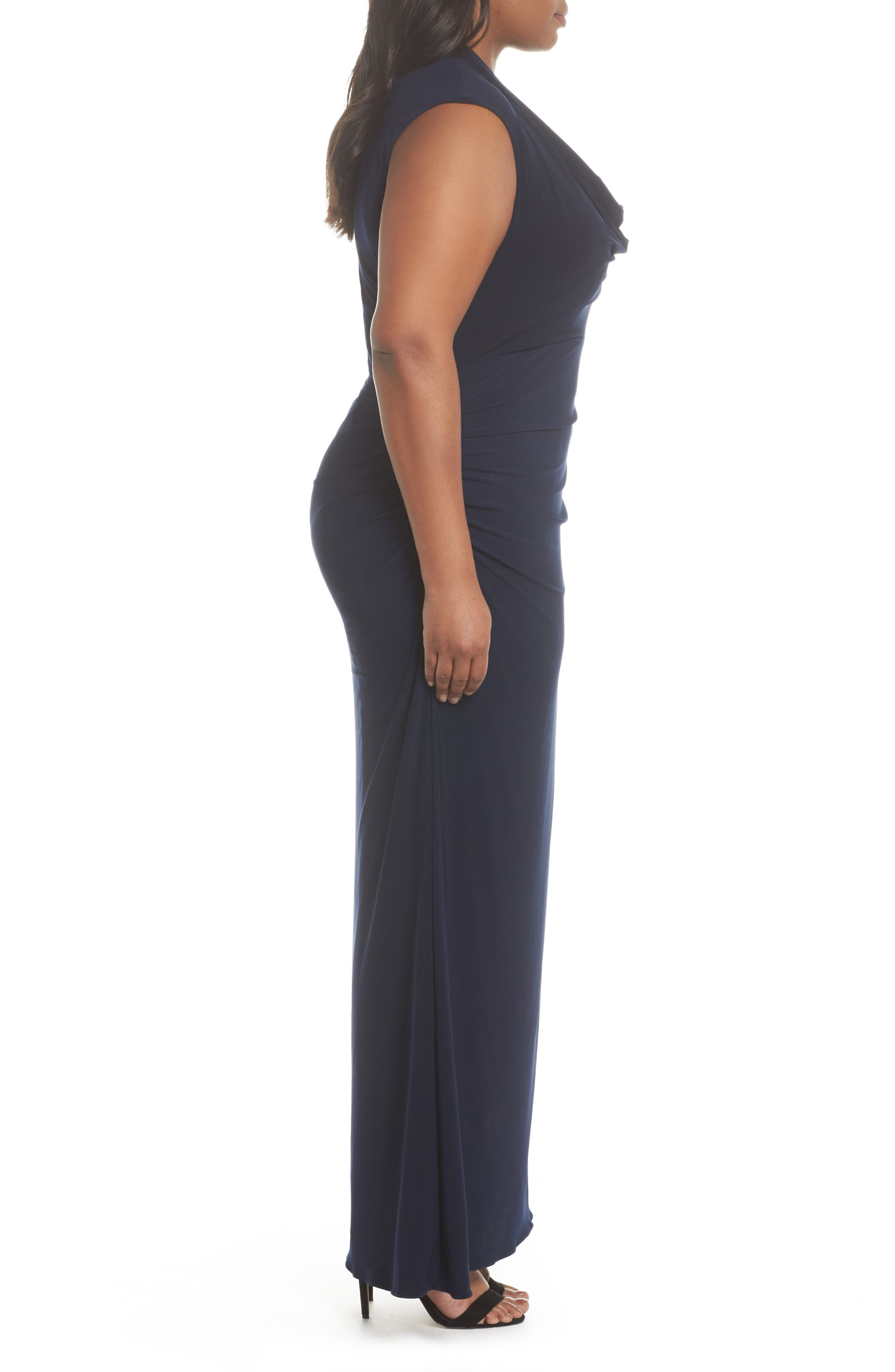 Cowl Neck Jersey Gown,                             Alternate thumbnail 3, color,                             Midnight