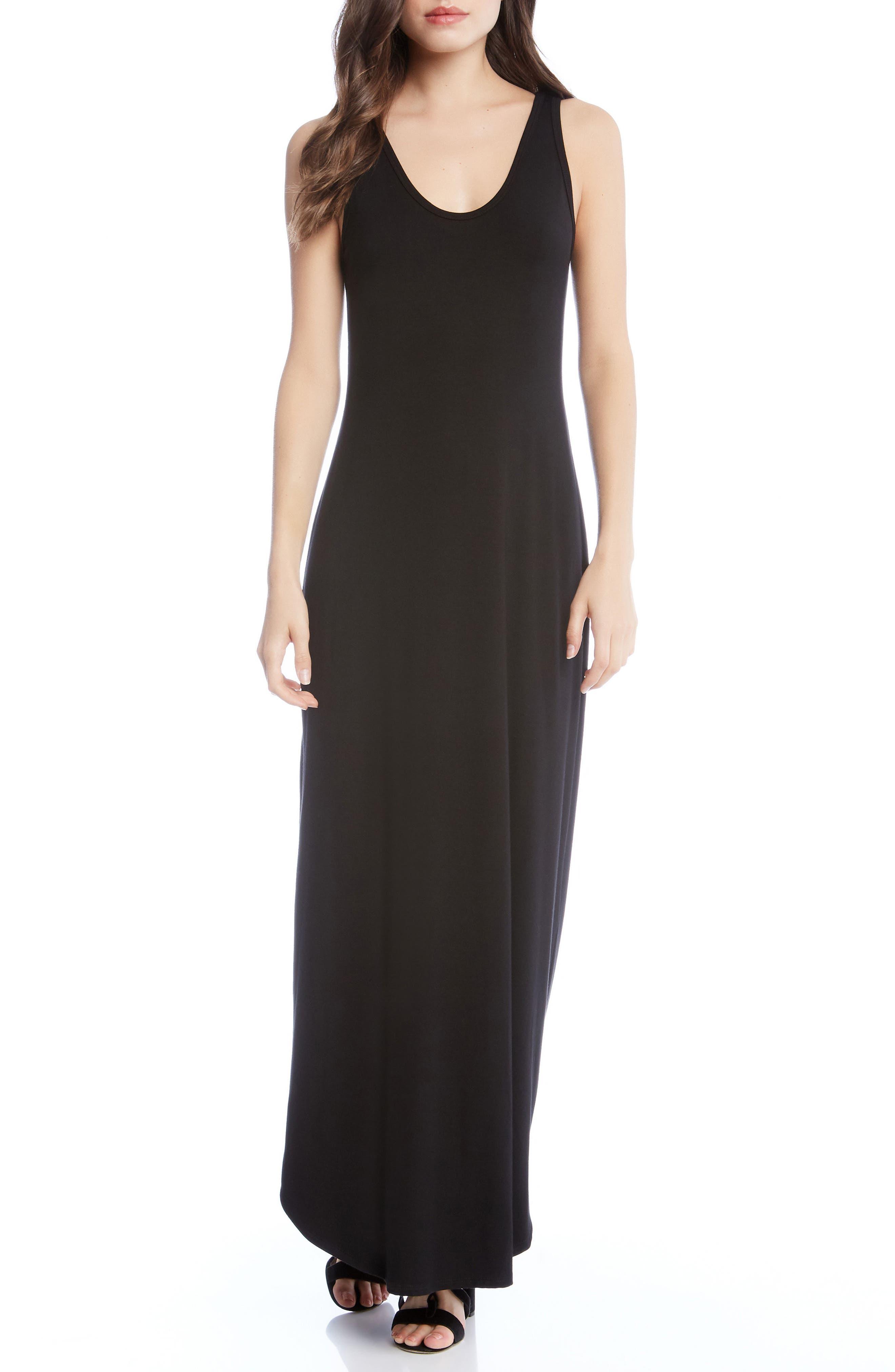 Zipped Side Slit Maxi Dress,                             Main thumbnail 1, color,                             Black