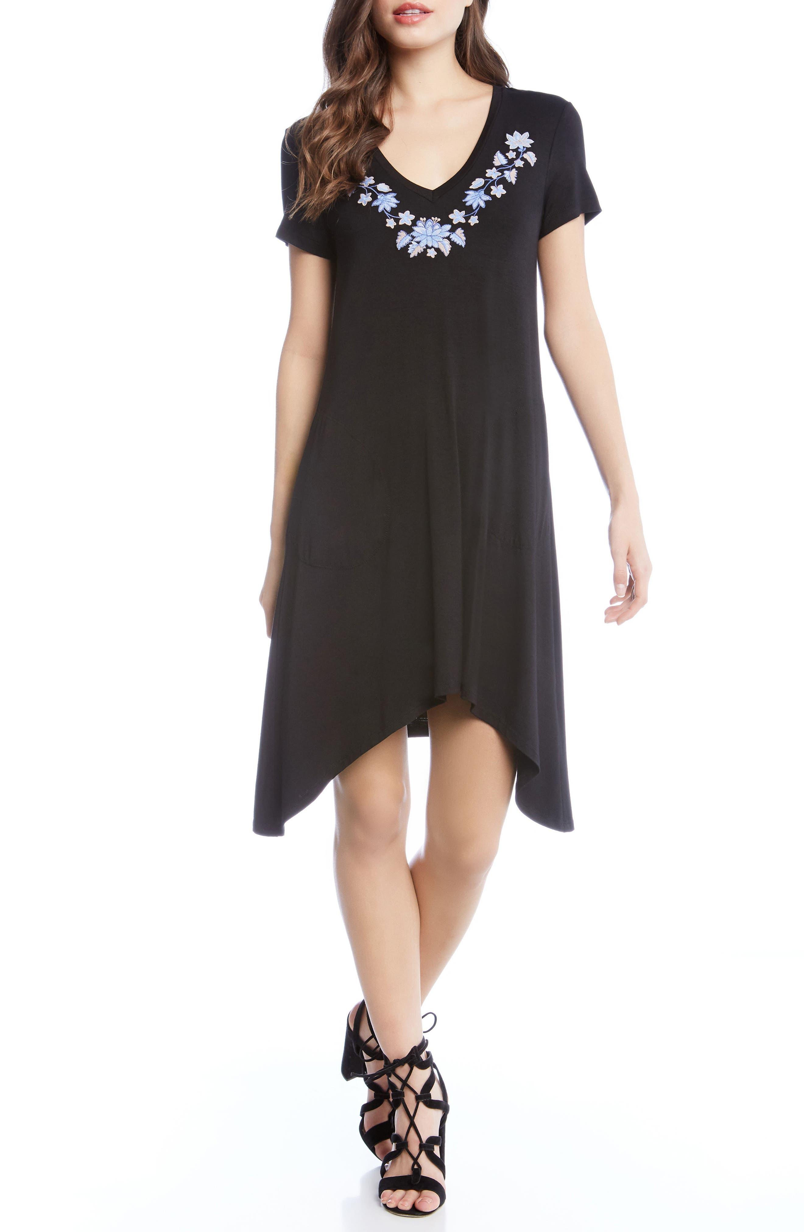 Hailey Sharkbite Hem Dress,                             Main thumbnail 1, color,                             Black