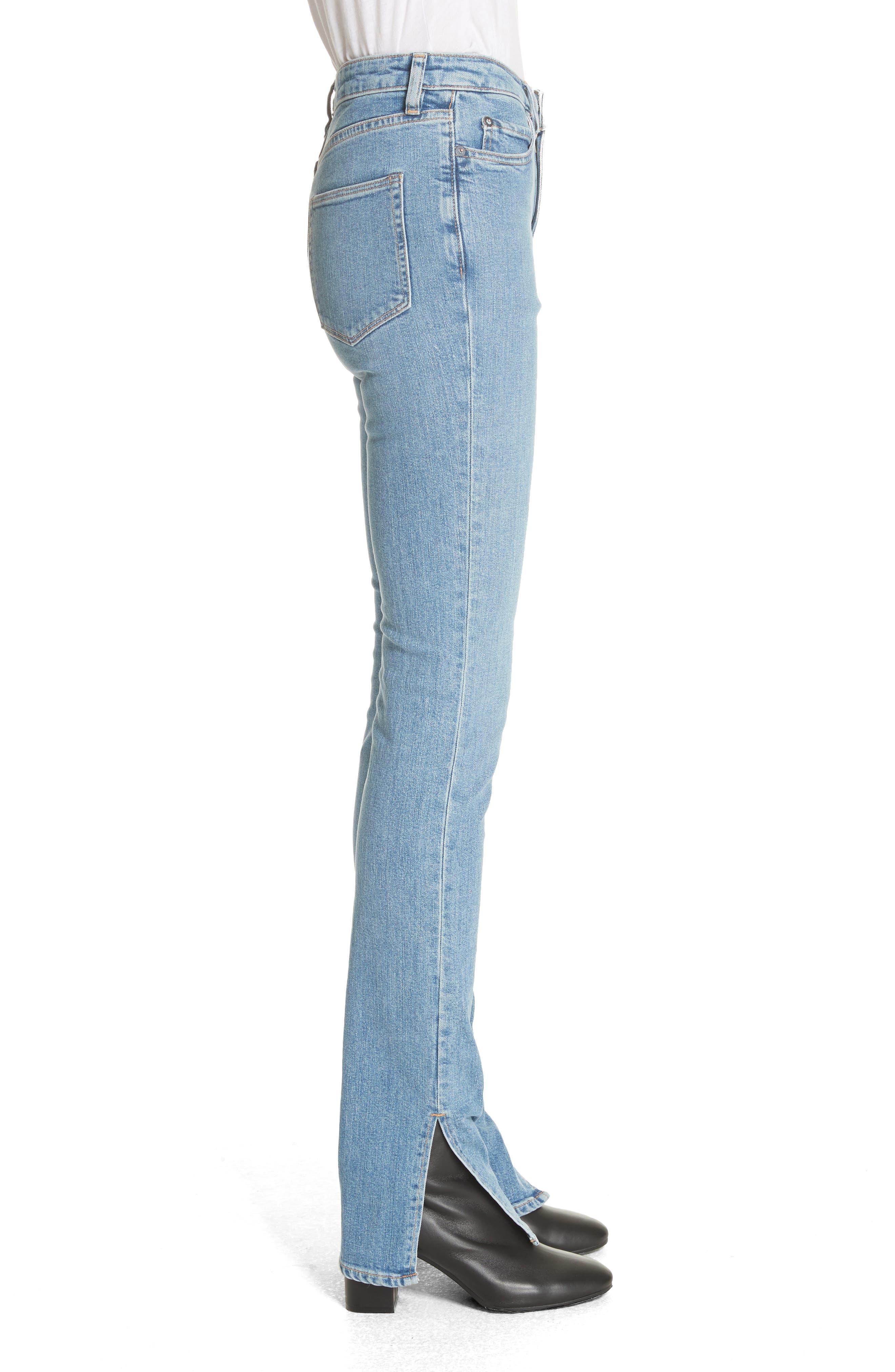 Lowry Split Hem Jeans,                             Alternate thumbnail 3, color,                             Mid Indigo Wash