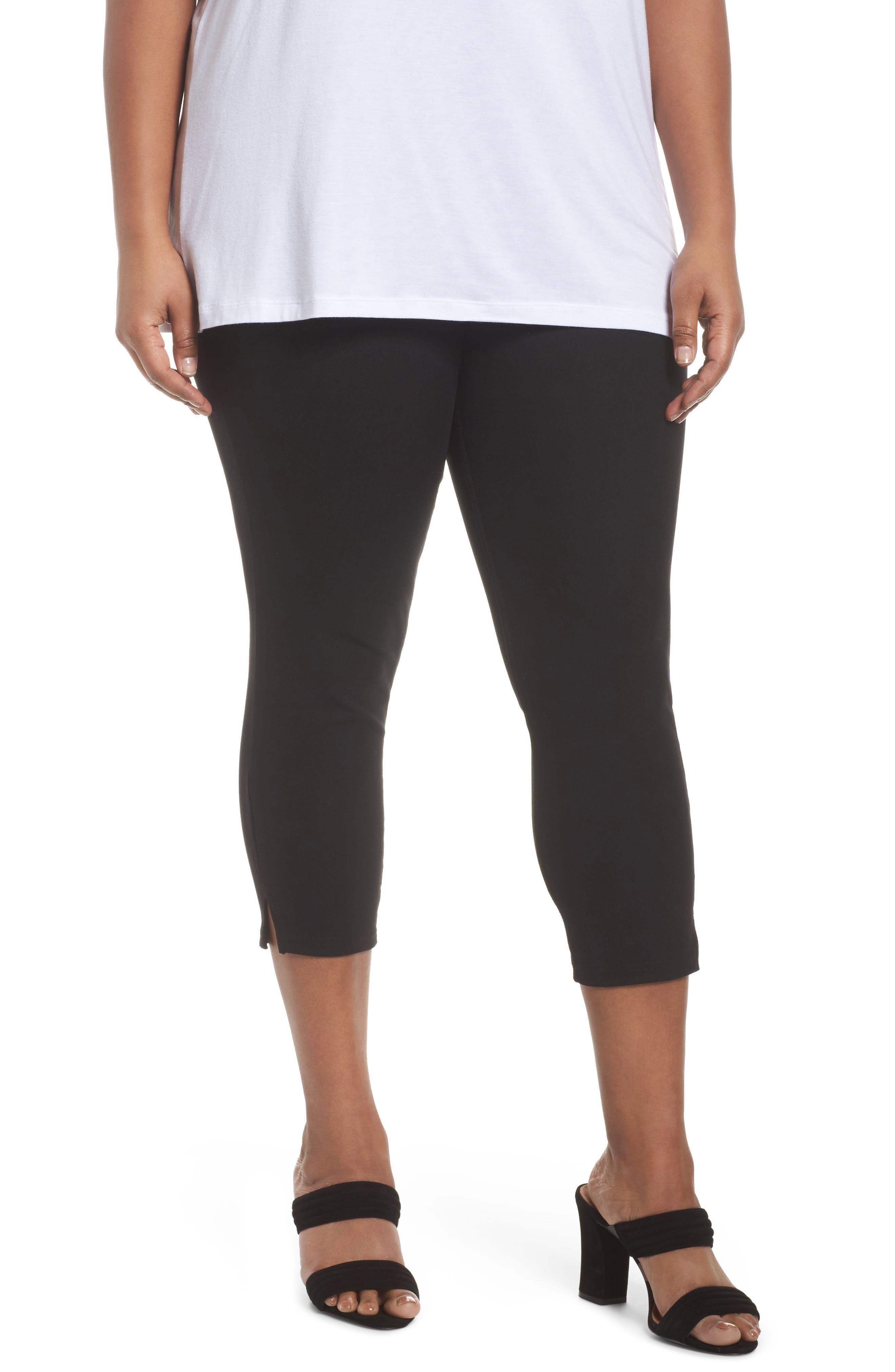 Ankle Slit Crop Denim Leggings,                         Main,                         color, Black