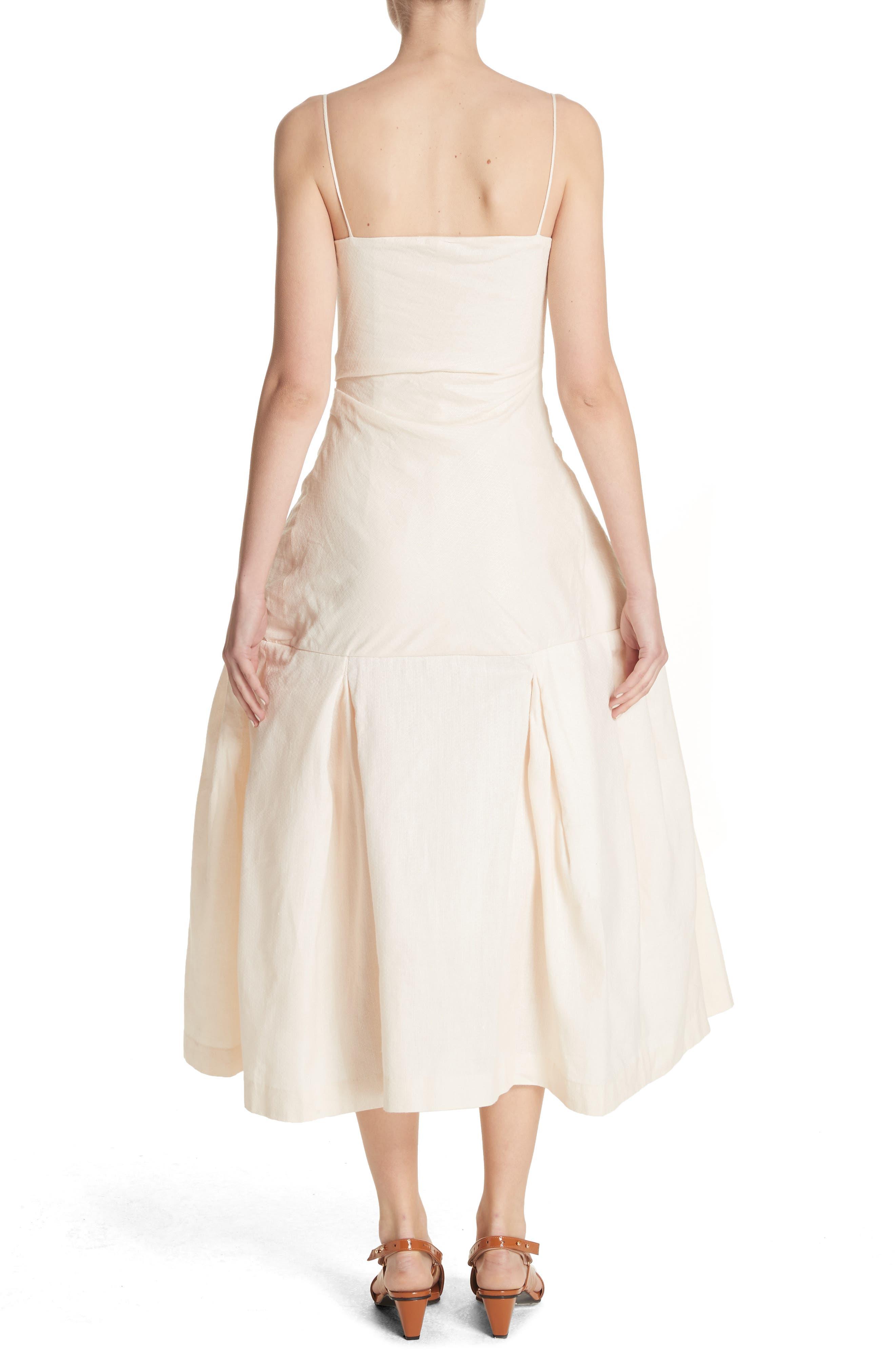 La Robe Limao Linen & Cotton Trumpet Dress,                             Alternate thumbnail 2, color,                             Beige